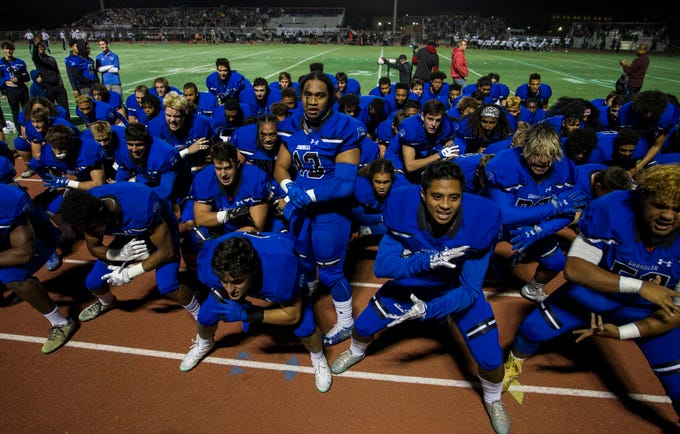 Chandler High players preforms the Haka dance before their game with Highland at Basha High School in Chandler  Friday, Nov.16, 2018. #azhsfb