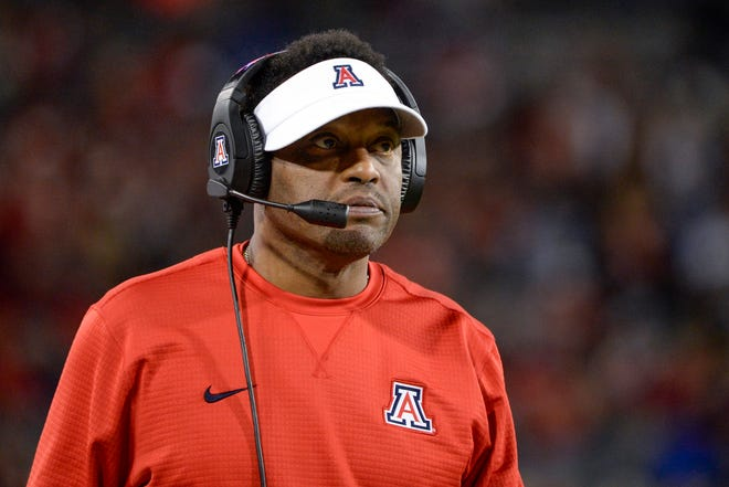 Nov 2, 2018: Arizona Wildcats head coach Kevin Sumlin watches from the sideline during the first half against the Colorado Buffaloes at Arizona Stadium.