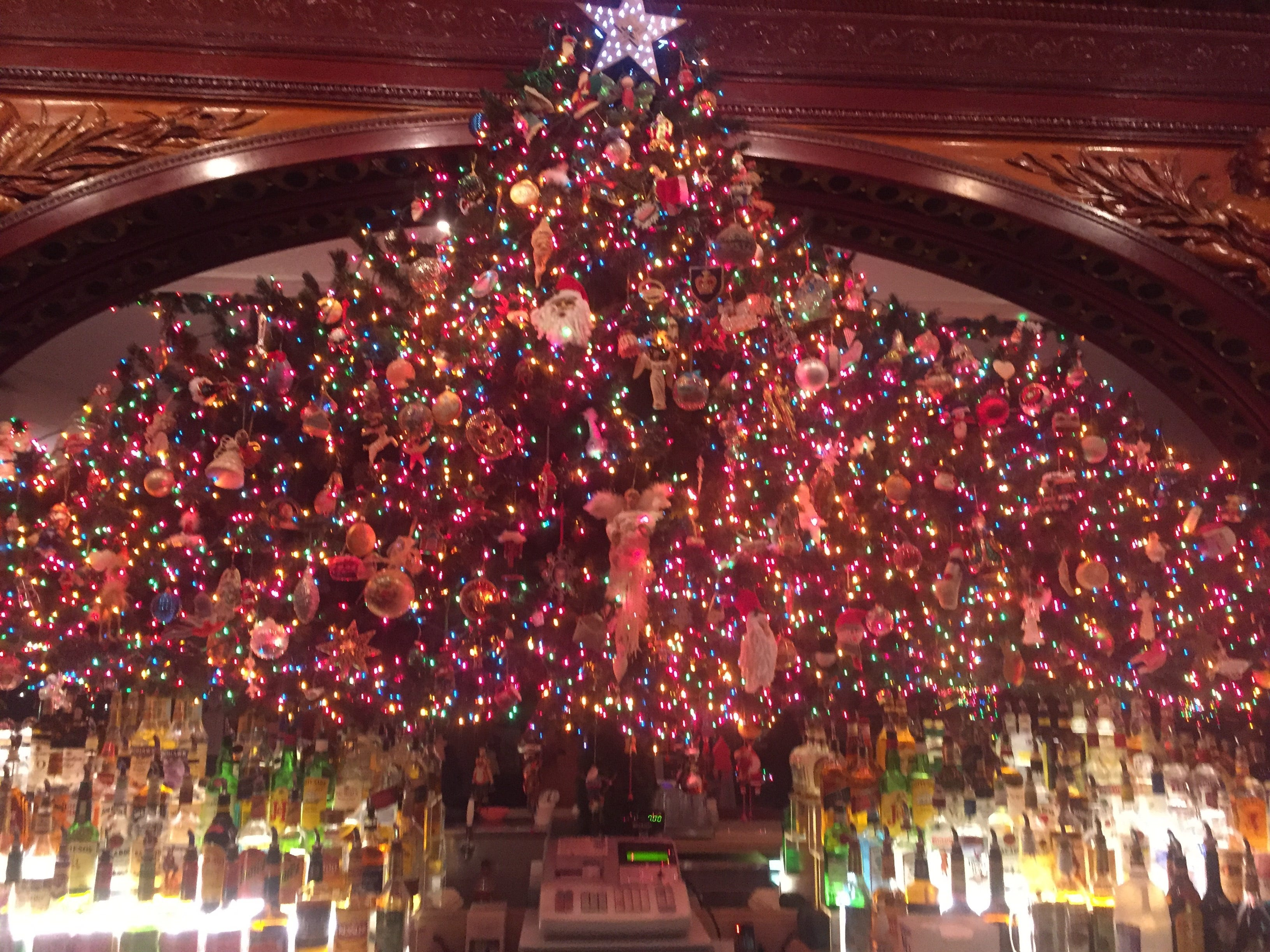 A mass of Christmas lights dominated the bar at the Brass Rail in Port Huron.