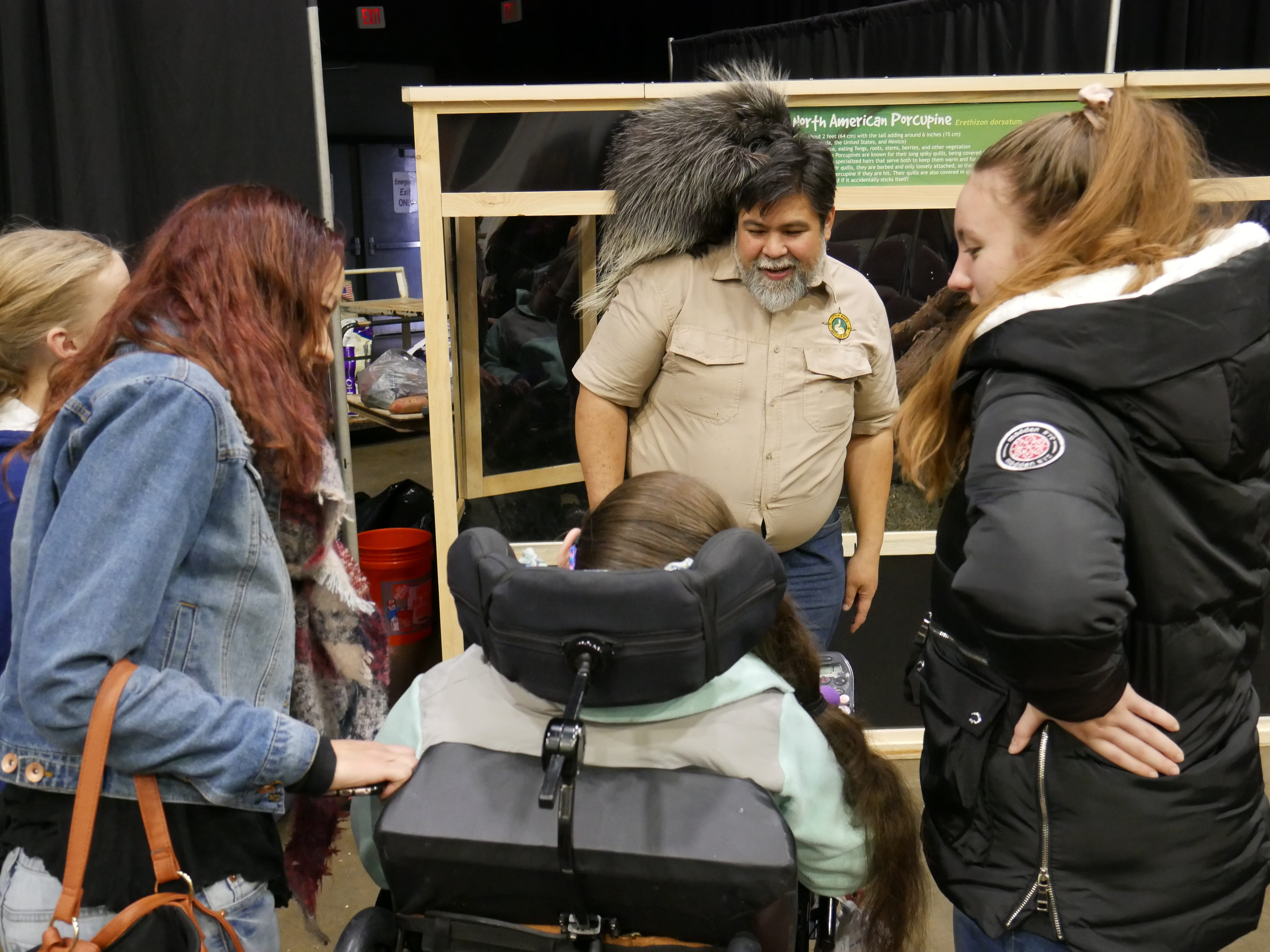 The Malone family watches Andre Ngo of Little Ray's Nature Centers interact with Quilber Thistlebeaver III at the Natural History Exhibition on Nov. 17, 2018. Little Ray's Nature Centers and ZooAmerica coordinated with the Foundation for Animal Rescue and Education for the weekend-long exhibit, held at the Mid-Hudson Civic Center in Poughkeepsie. It also features a sloth, an armadillo, rabbits, snakes and more.