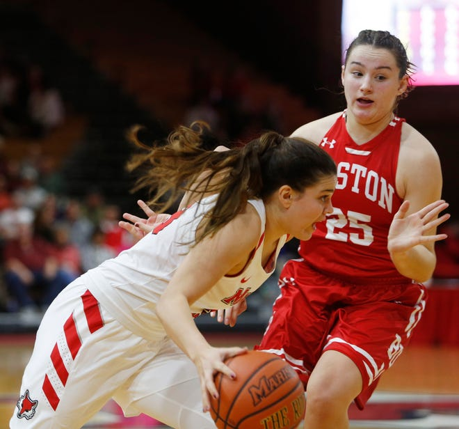 Marist's Kendall Krick drives to the basket against Boston University's Riley Childs during a Nov. 16 women's college basketball game.