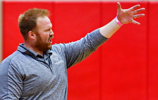 West York Head Coach Joe Ramp during PIAA 3A Girls' Volleyball Championship game action against Warren at Cumberland Valley High School in Mechanicsburg, Saturday, Nov. 17, 2018. West York would win the game 3-0. Dawn J. Sagert photo