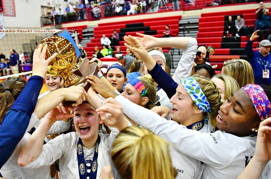 West York celebrates a 3-0 win over Warren during PIAA 3A Girls' Volleyball Championship game action at Cumberland Valley High School in Mechanicsburg, Saturday, Nov. 17, 2018. Dawn J. Sagert photo