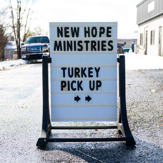 On November 16, 2018, New Hope Ministries in Dover provided a turkey and all the popular Thanksgiving fixings to those struggling to feed their families at this time of year. Businesses, schools, churches, civic groups and individuals from around the community donated a variety of foods, which were handed out all day.