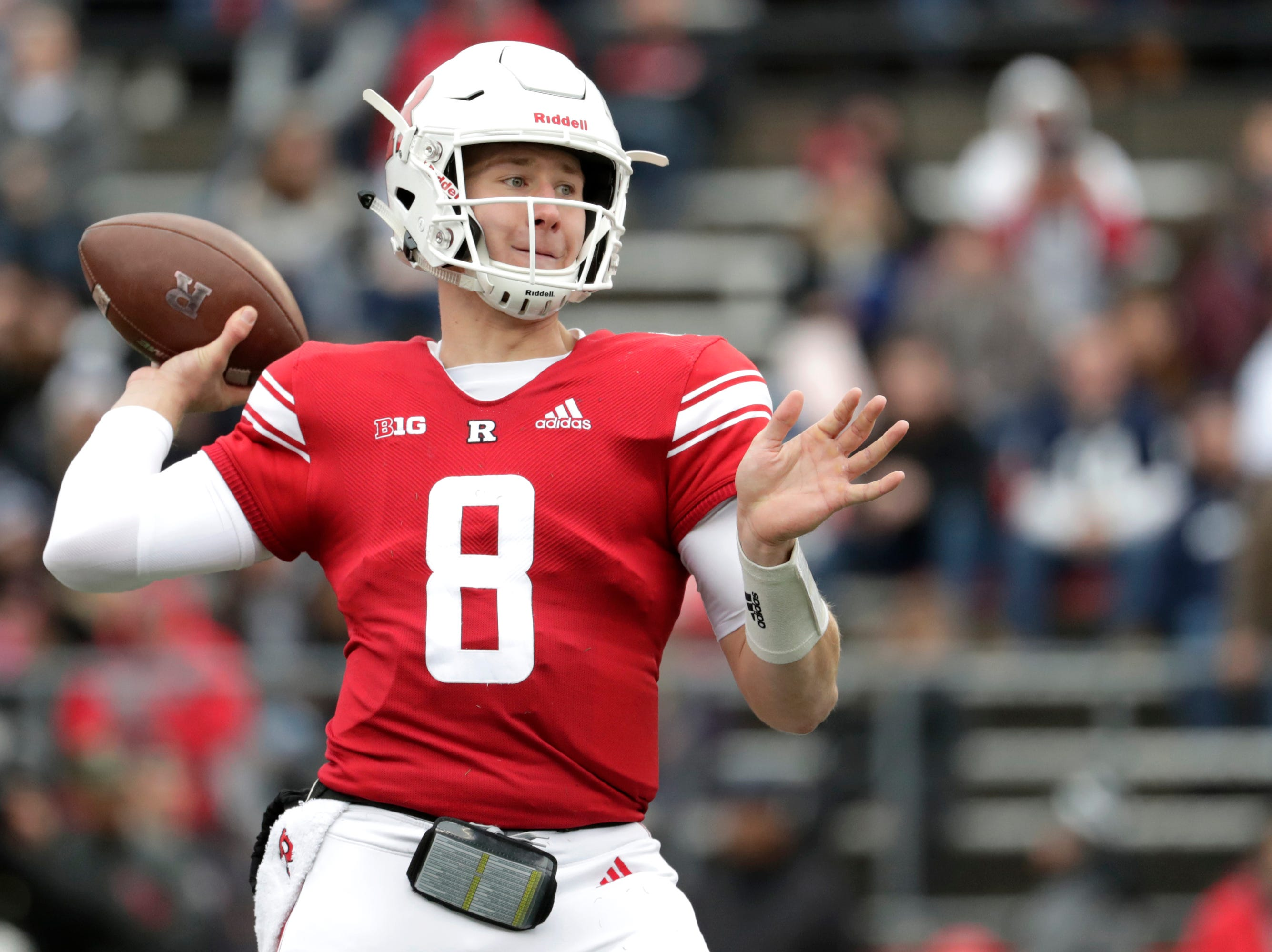 Rutgers quarterback Artur Sitkowski looks to pass against Penn State during the first half of an NCAA college football game, Saturday, Nov. 17, 2018, in Piscataway, N.J. Penn State's safety Garrett Taylor intercepted the pass on the play. (AP Photo/Julio Cortez)