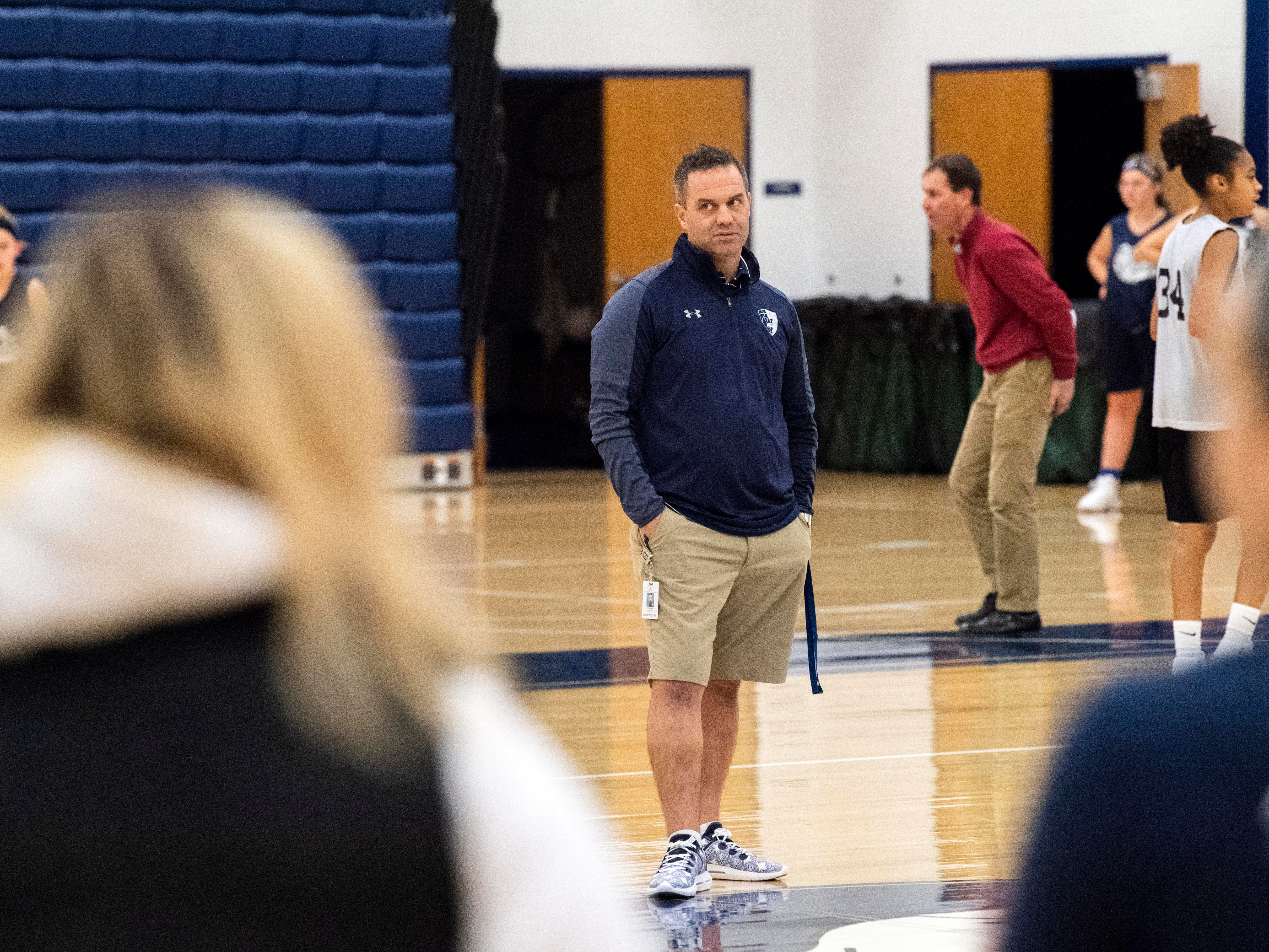West York girls' basketball head coach James Kunkle watches his players during the first official day of winter sports practice on Friday, November 16, 2018.