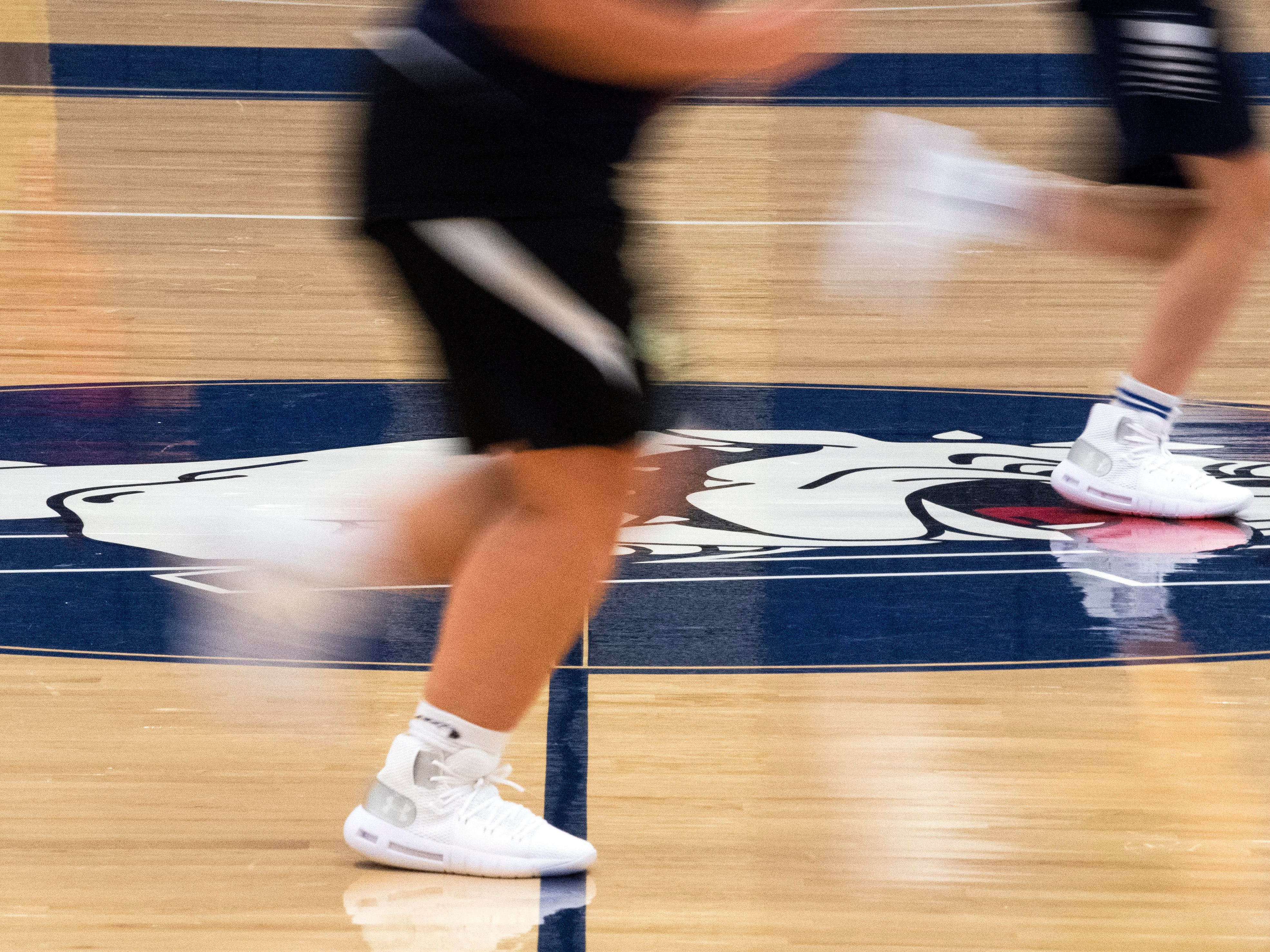 West York girls' basketball players run during the first official day of winter sports practice on Friday, November 16, 2018.