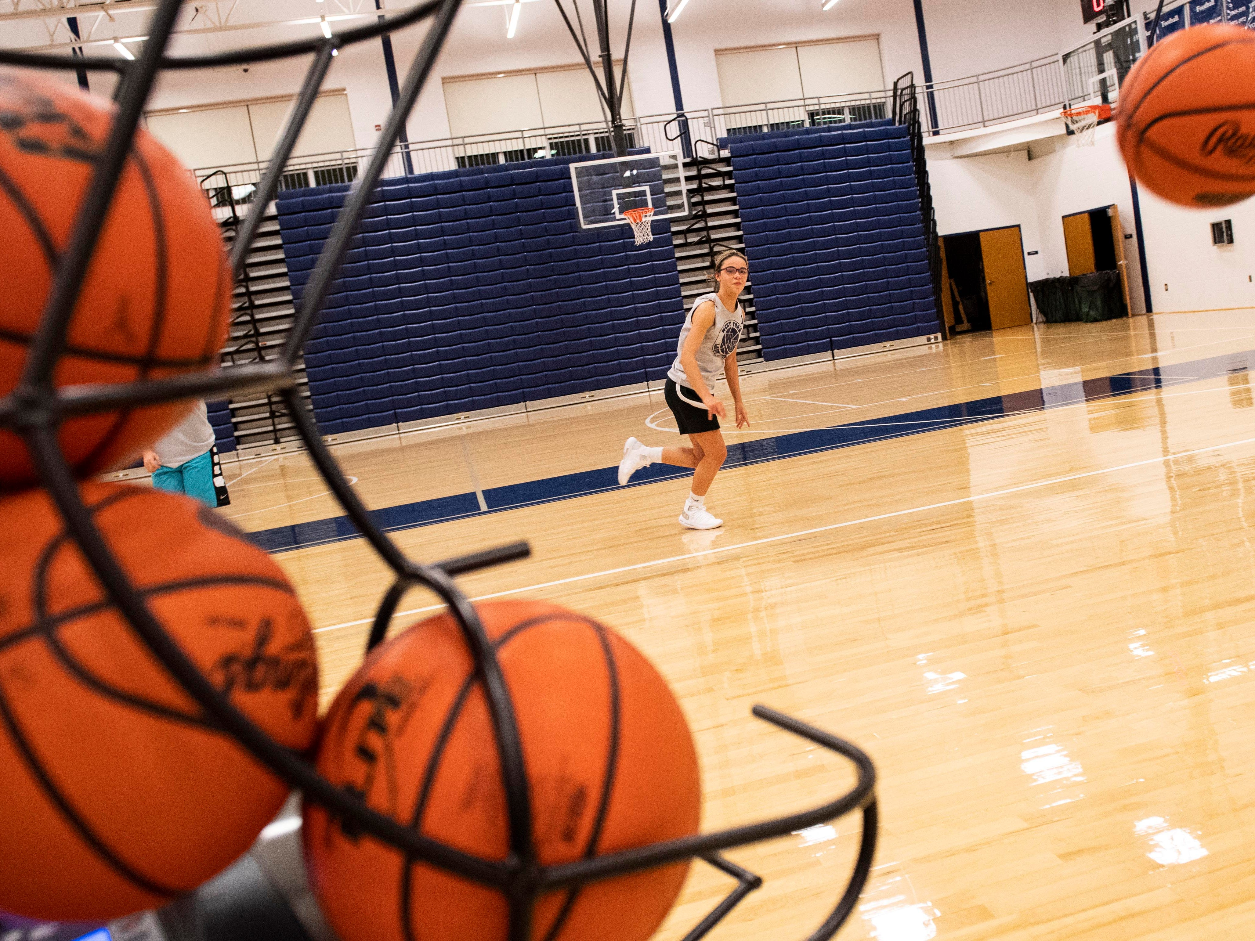 West York girls' basketball players work on guard drills during the first official day of winter sports practice on Friday, November 16, 2018.