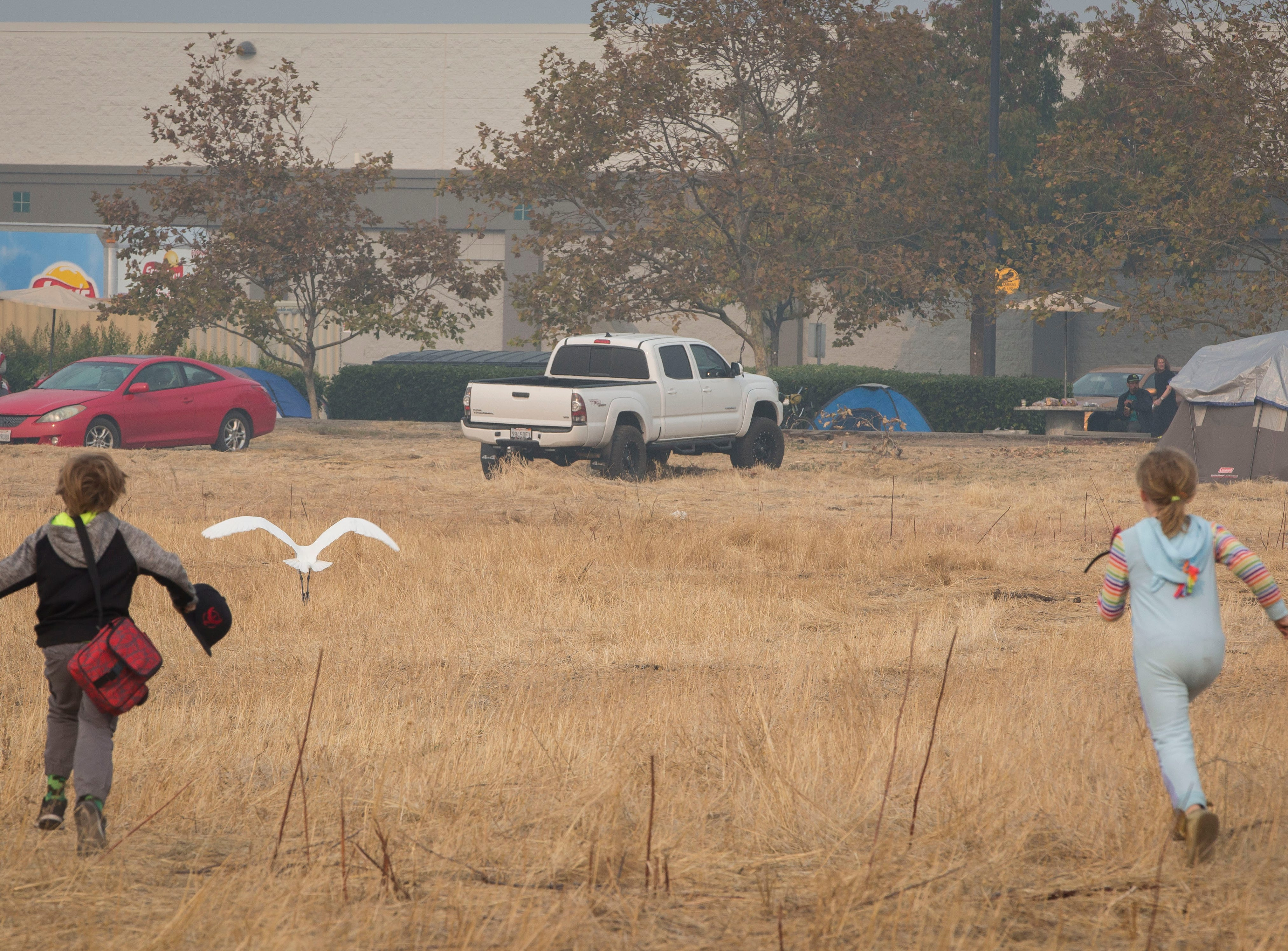 Michael Belcher, 9, left and his sister Zoeylee, 10, chase birds in a field next to where they are camping with their family at the Walmart in Chico, CA, Saturday Nov. 17, 2018. The Belcher family lost their home and vehicles to the Camp Fire.