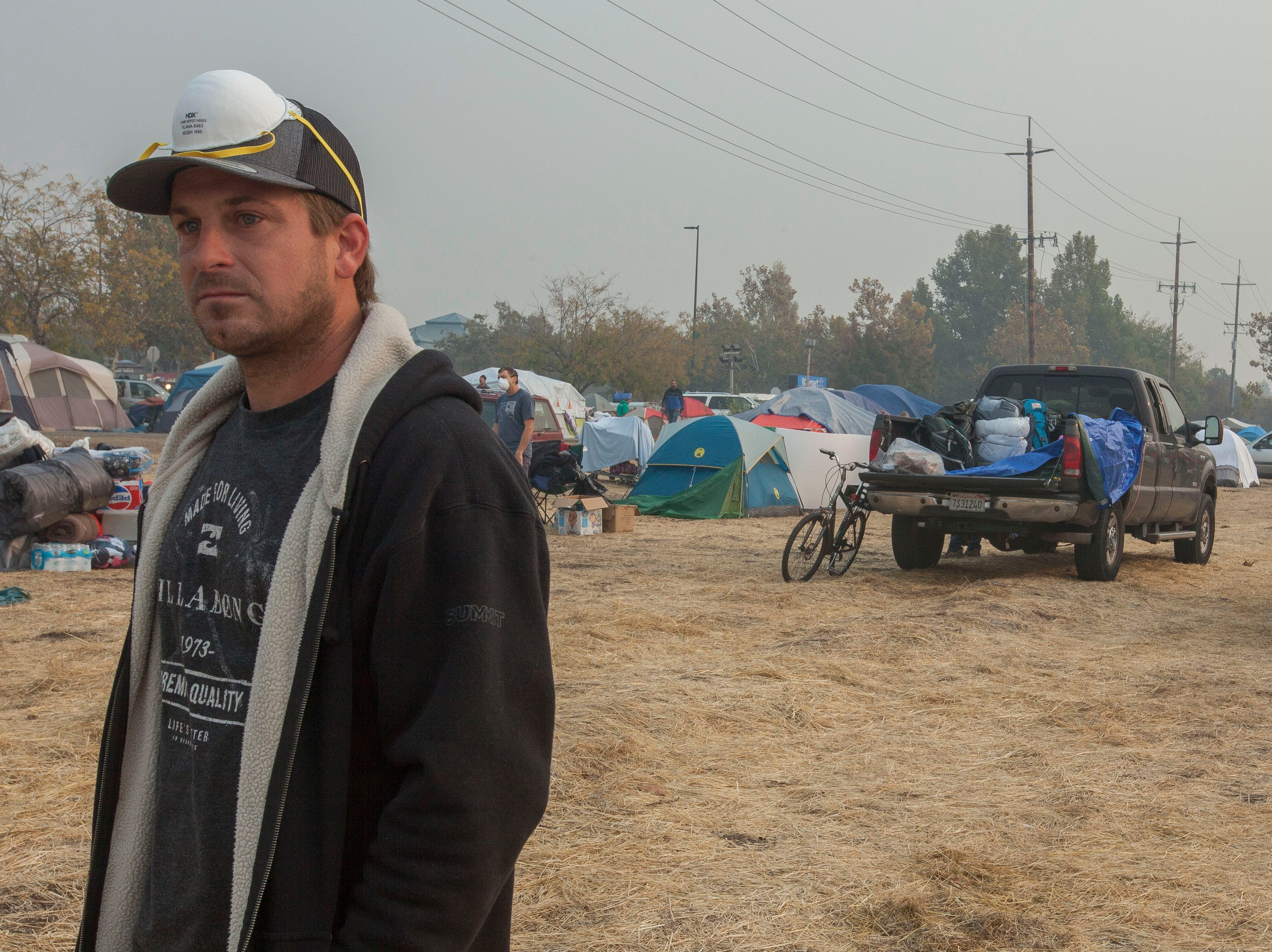 Christian Walters who lost his RV and vehicle in the Camp Fire is now staying in a tent at the Walmart parking lot in Chico, CA..
