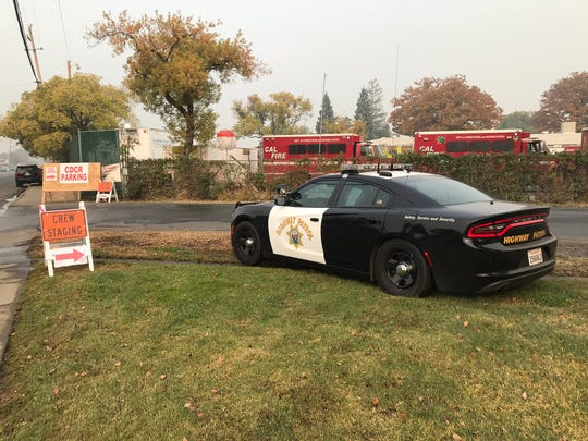 A California Highway Patrol car waits at the Silver Dollar Fair grounds in Chico for President Donald Trump to arrive Saturday, November 17, 2018.