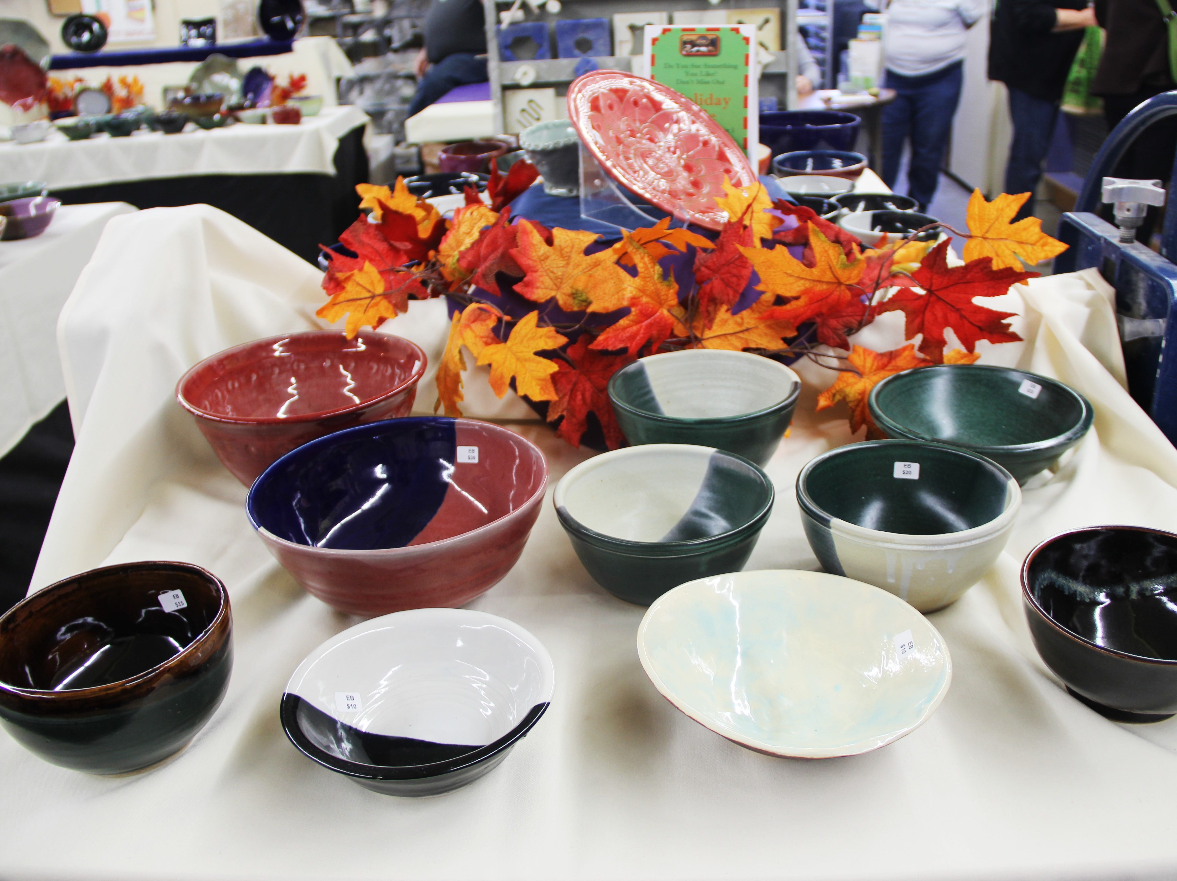 A table displaying bowls at the Willamette Art Center's Empty Bowls fundraiser on Saturday, Nov. 17. Since its inception in 2007, this fundraiser has raised more than $180,000 for the Marion-Polk Food Share.