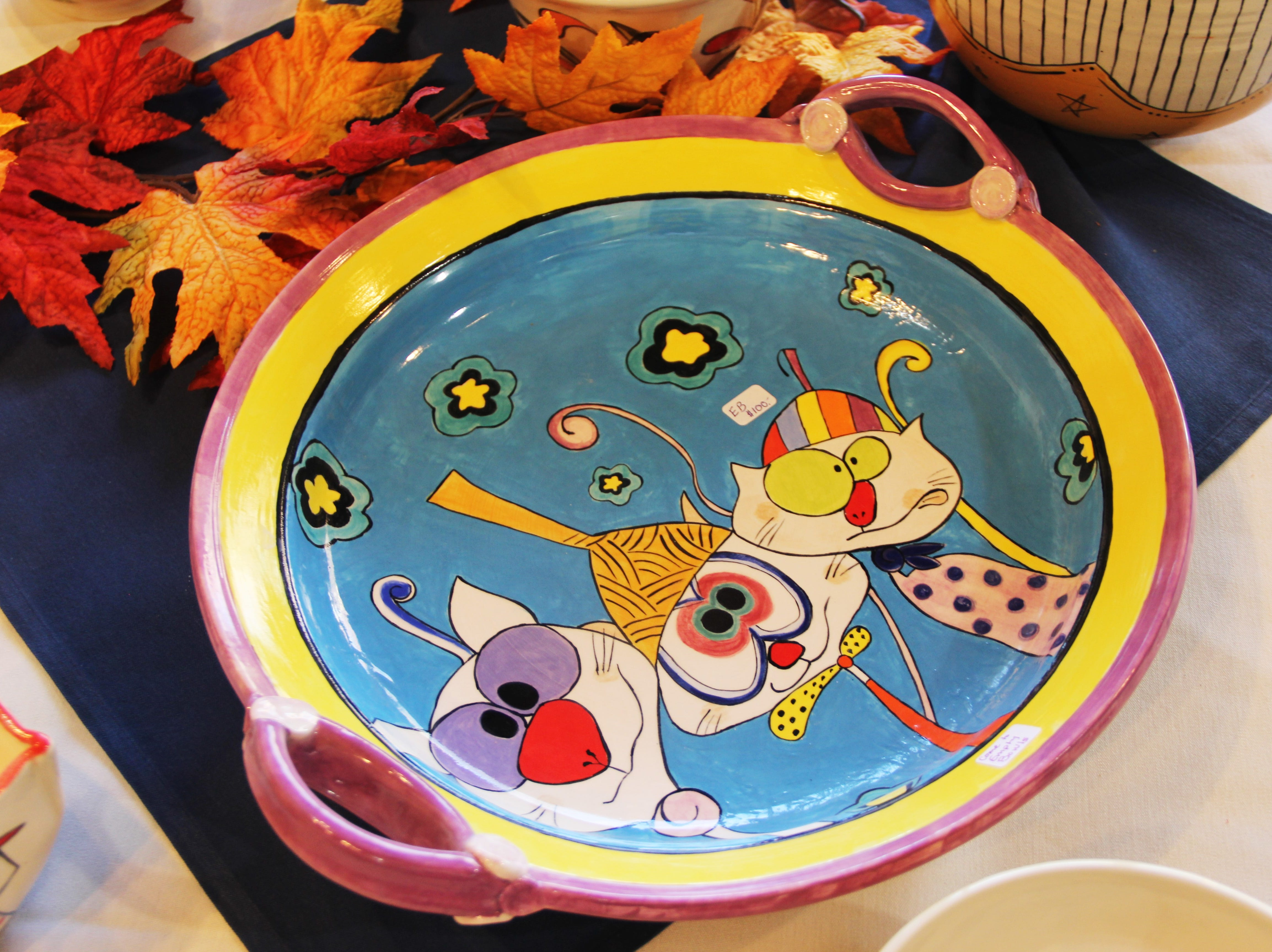 A bowl with a cartoon design at the Willamette Art Center's Empty Bowls fundraiser on Saturday, Nov. 17.