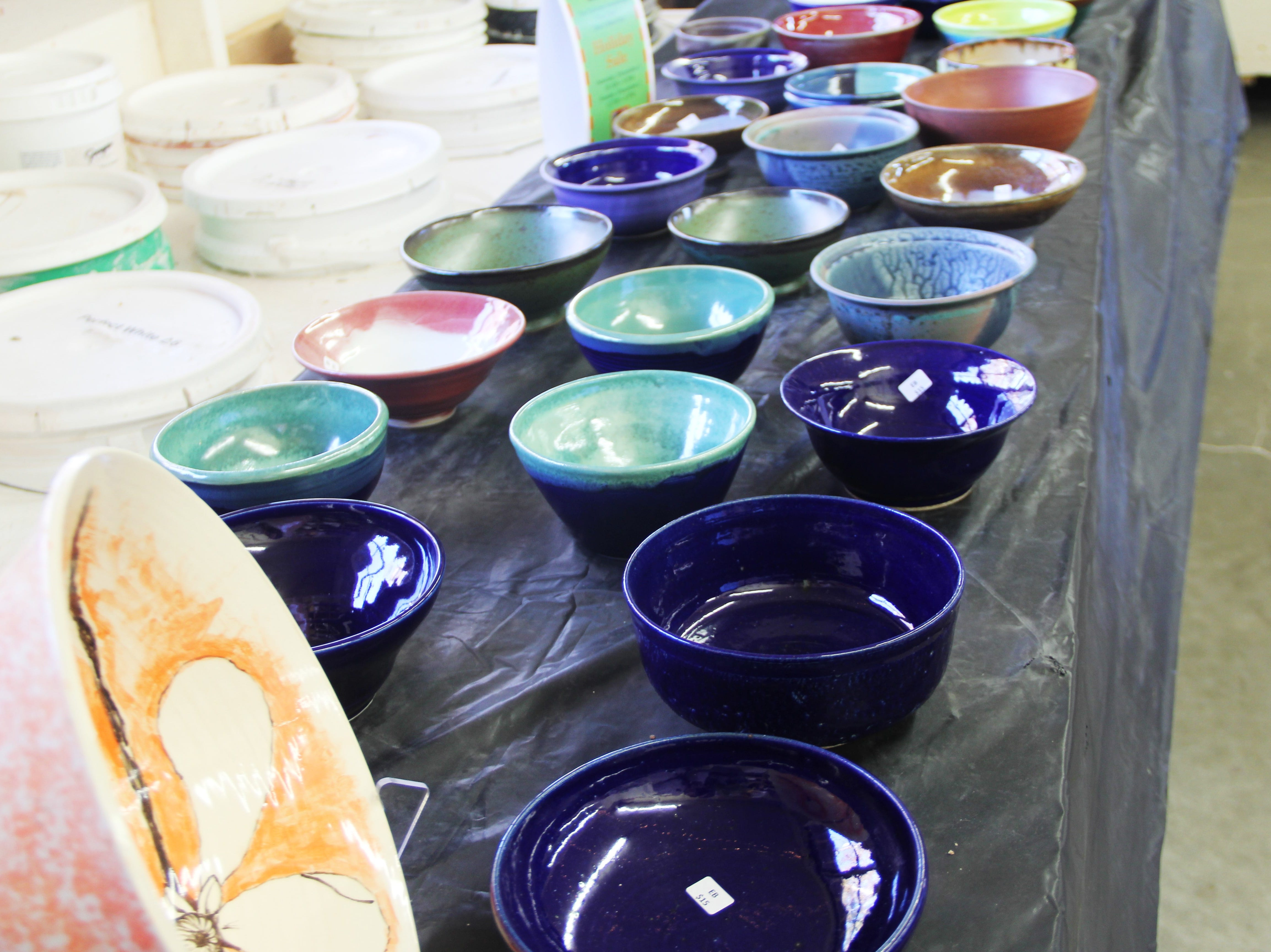 A portion of more than 1,150 bowls for sale at the Willamette Art Center's Empty Bowls fundraiser on Saturday, Nov. 17.
