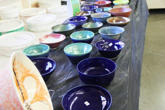 A portion of more than 1,150 bowls for sale at the Willamette Art Center's Empty Bowls fundraiser photographed on Nov. 17, 2018.