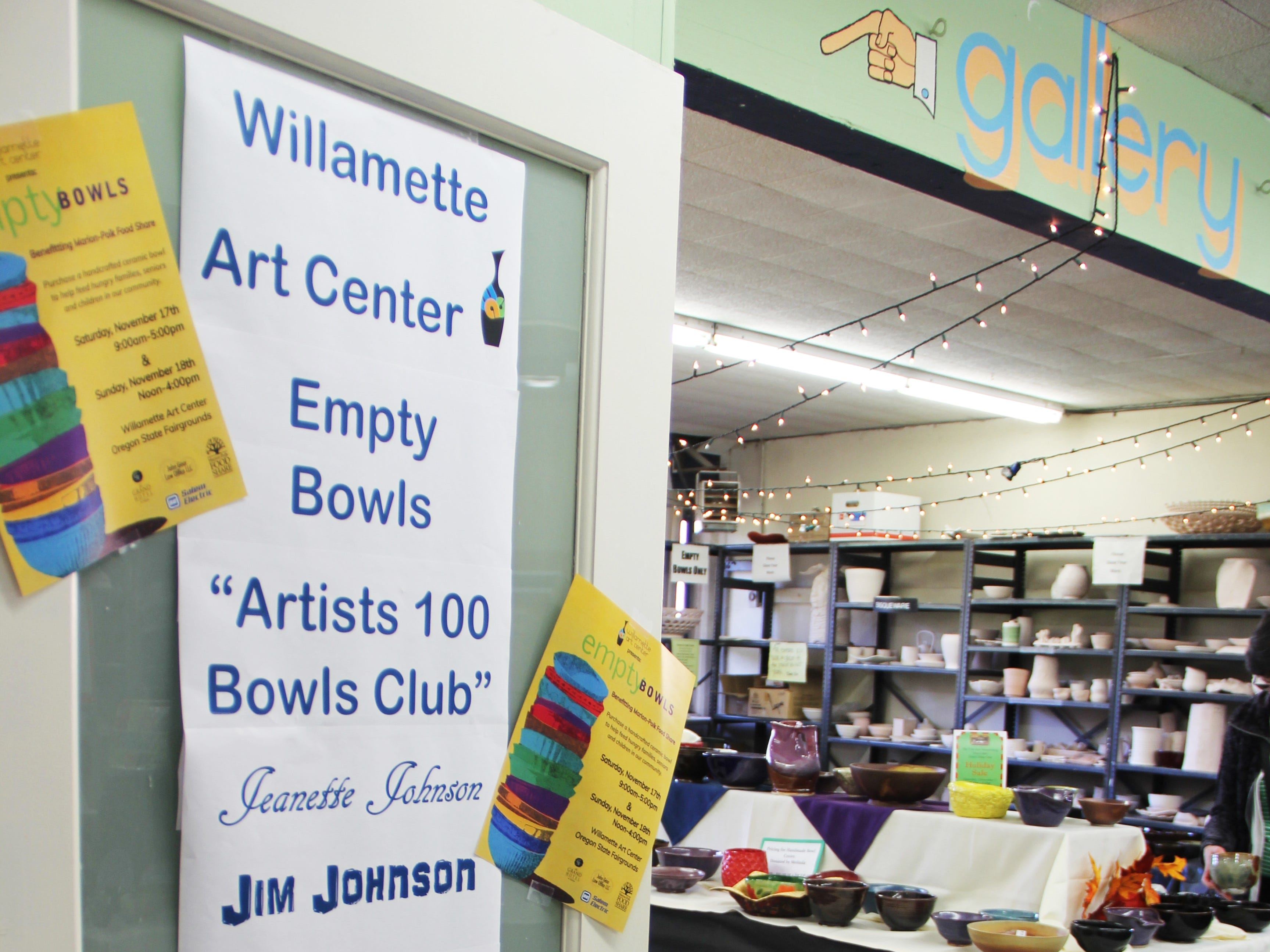 The names of the top 10 volunteers who created or glazed more than 100 bowls this year are highlighted on a poster at the Willamette Art Center's Empty Bowls fundraiser on Saturday, Nov. 17.