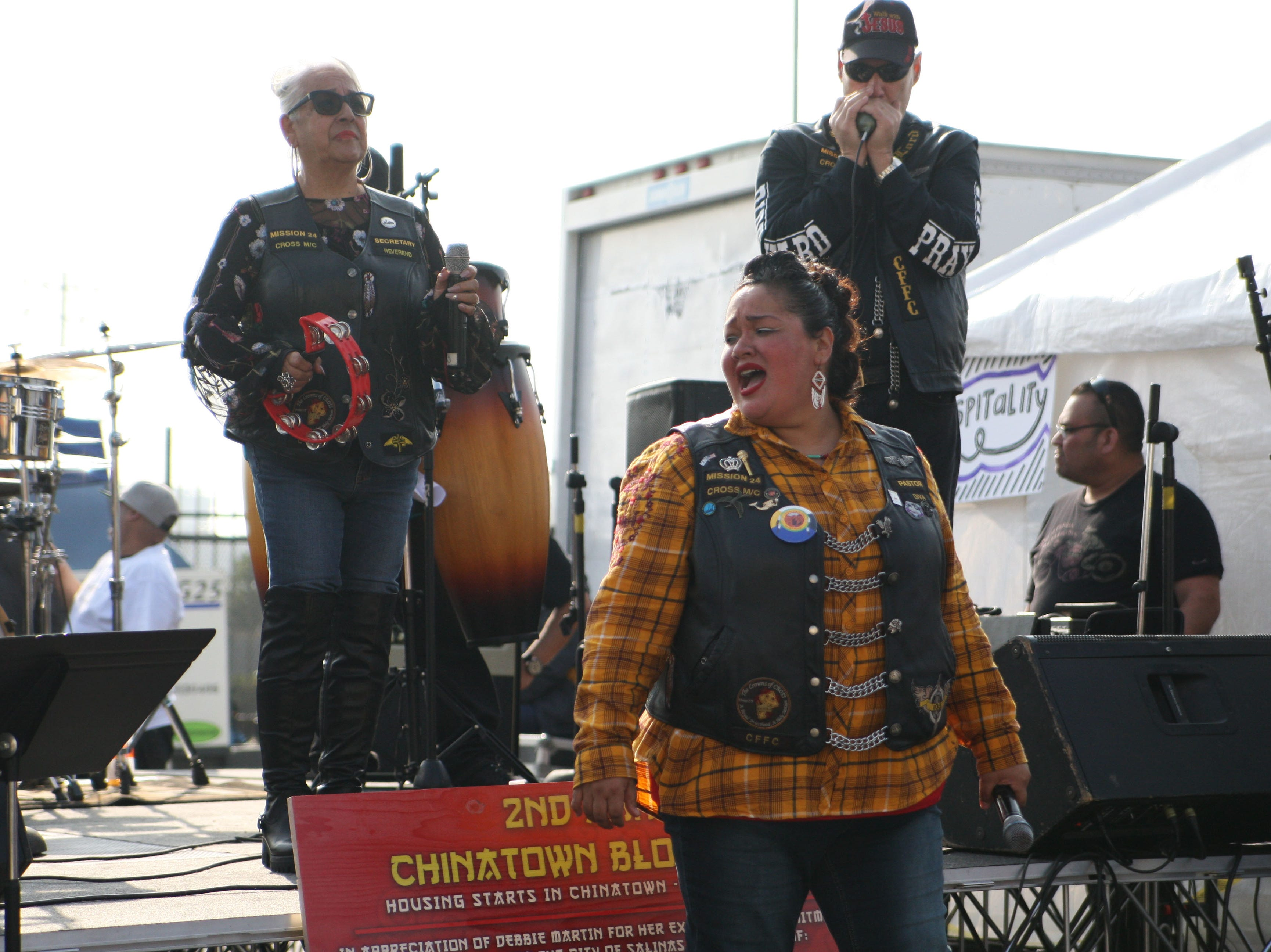 Members of the Cross Motorcycle Ministry band performed for the crowd at Chinatown's second annual block party.