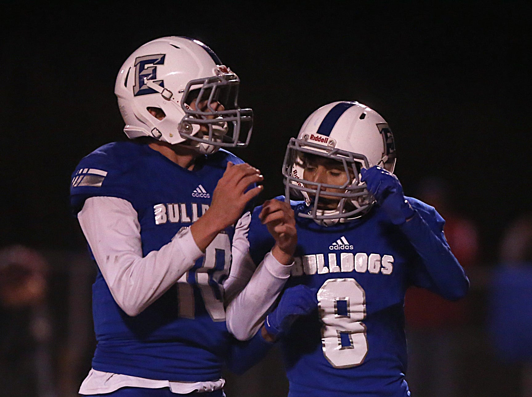 Eden's Ethan Saucedo (#8) and Hunner Rodgers (#10) Friday, Nov. 16, 2018 during their game against Gorman in Santa Anna. Eden lost to Gorman 20 to 68.