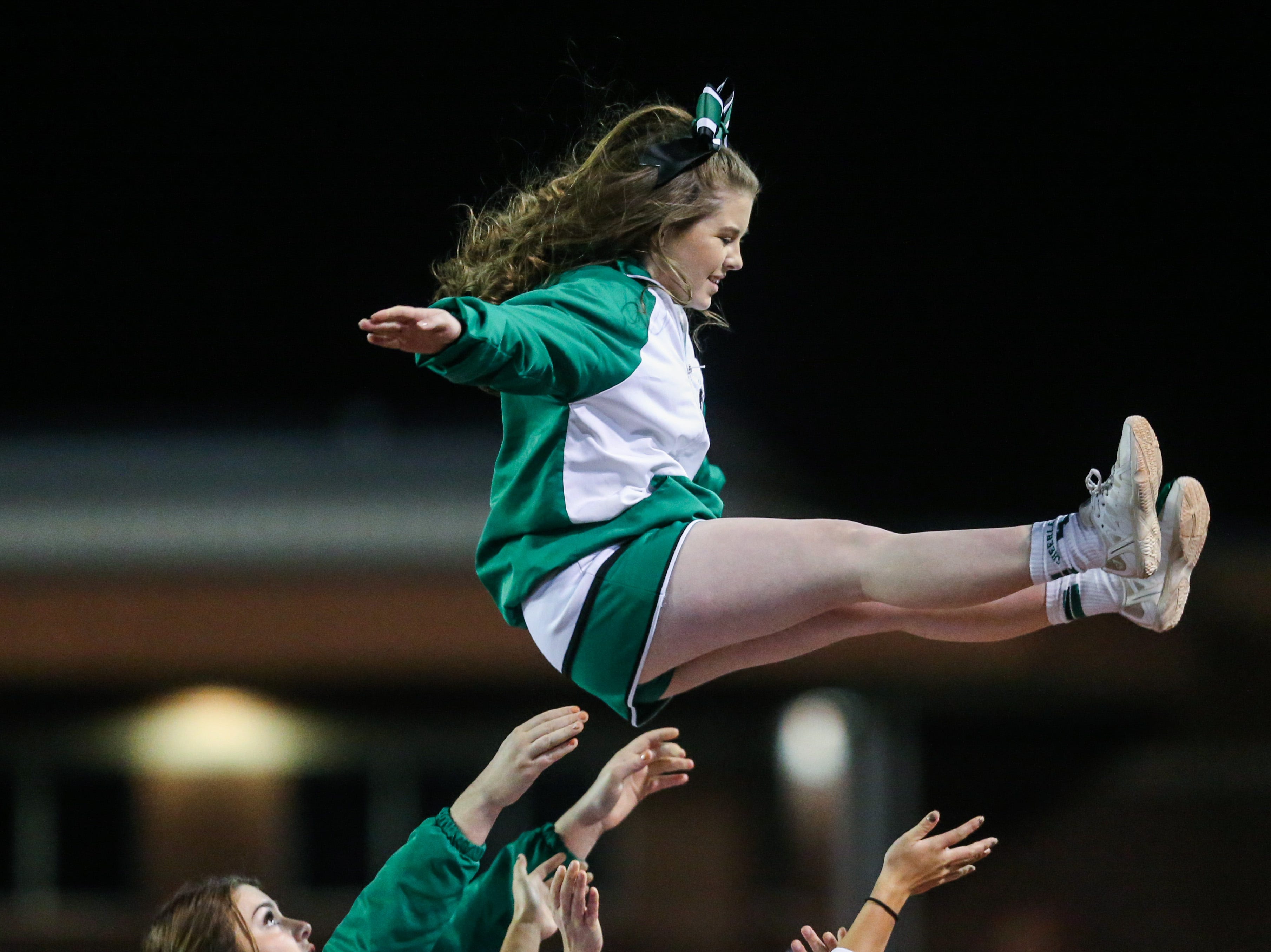 Eldorado cheerleaders entertain the fans during the playoff game against Haskell Friday, Nov. 16, 2018, at San Angelo Stadium.