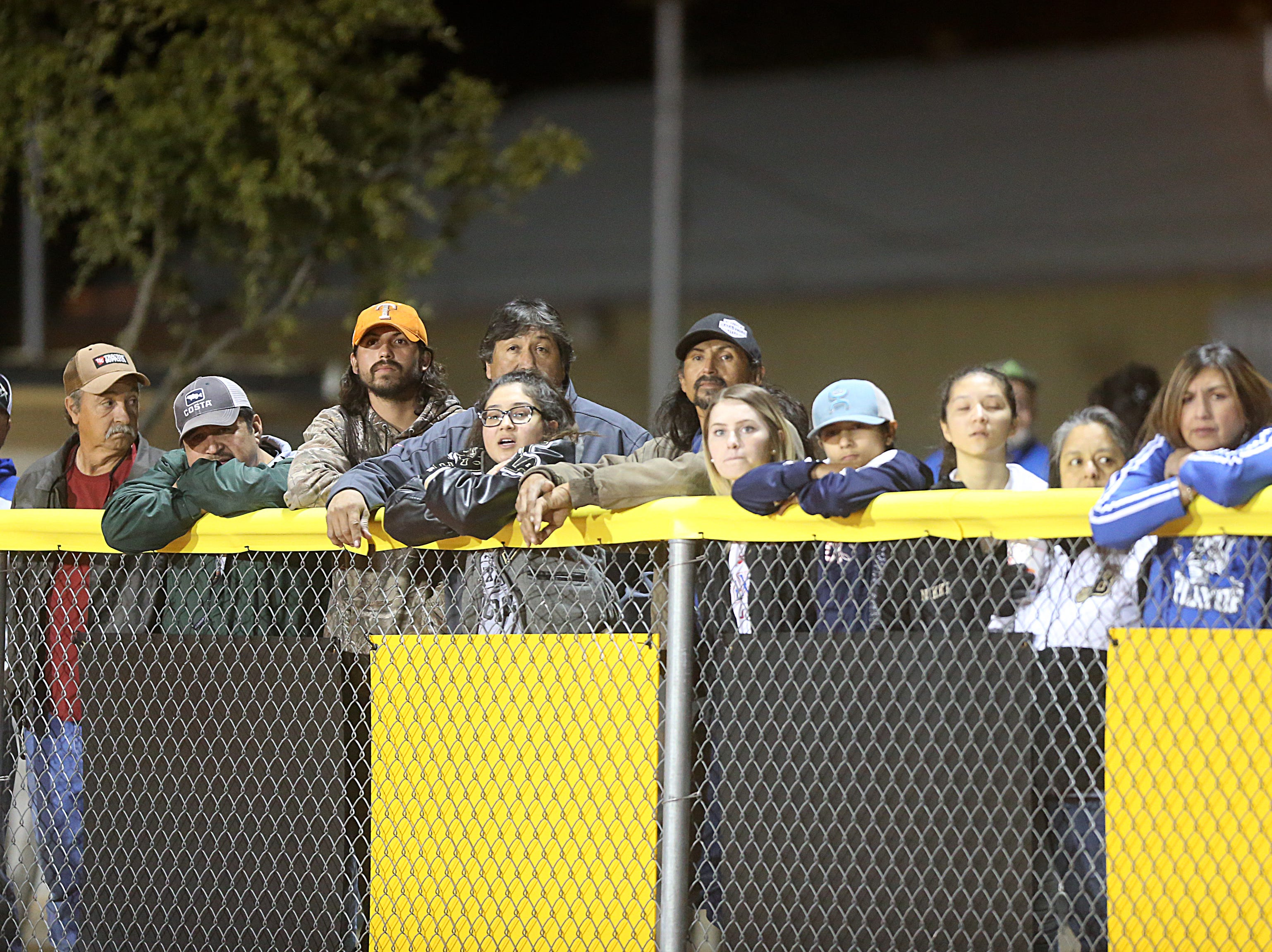 Eden Bulldog fans watch the game Friday, Nov. 16, 2018 as their team goes up against the Gorman Panthers in Santa Anna. Eden lost to Gorman 20 to 68.