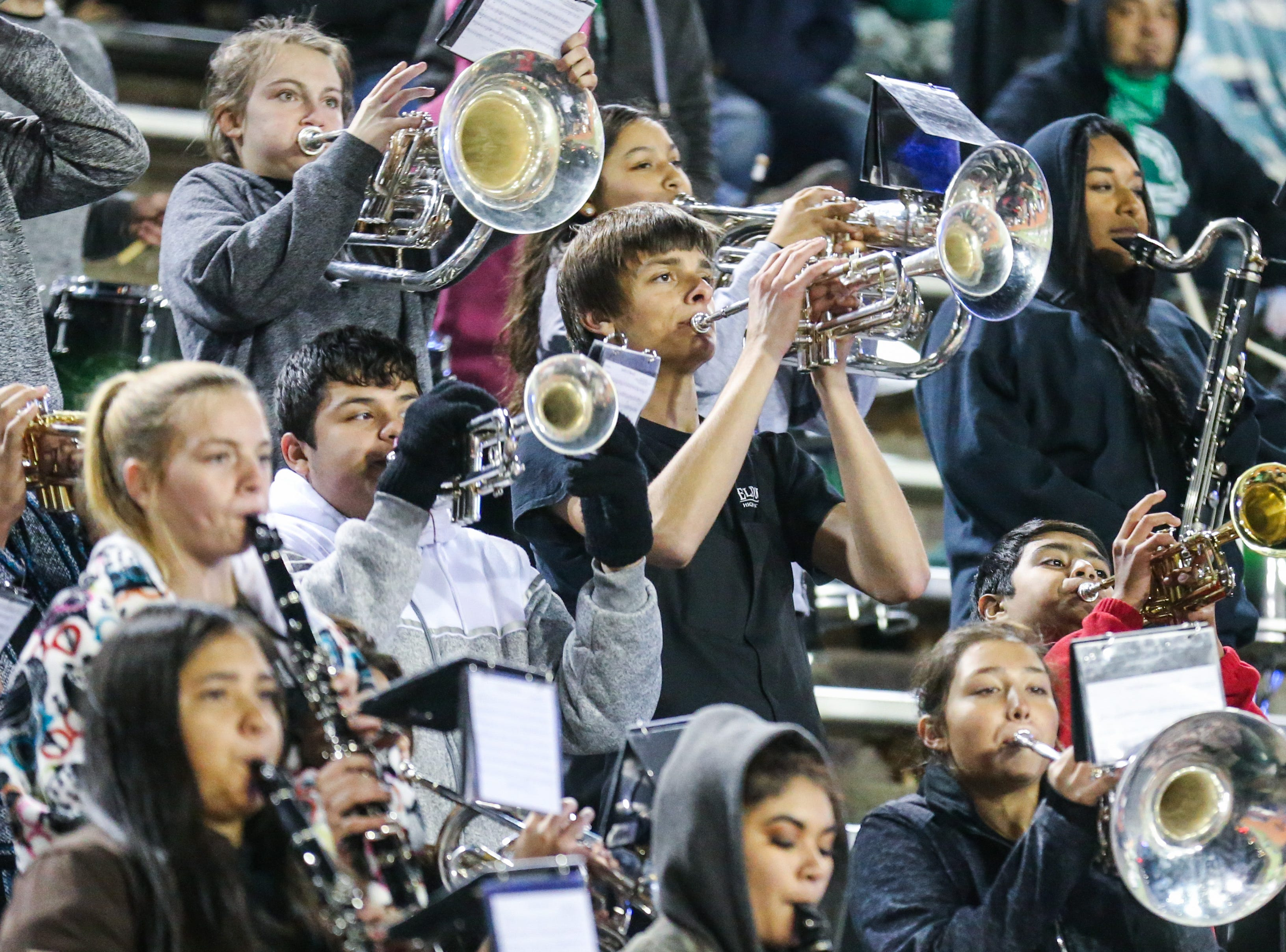 Eldorado band plays during the playoff game against Haskell Friday, Nov. 16, 2018, at San Angelo Stadium.