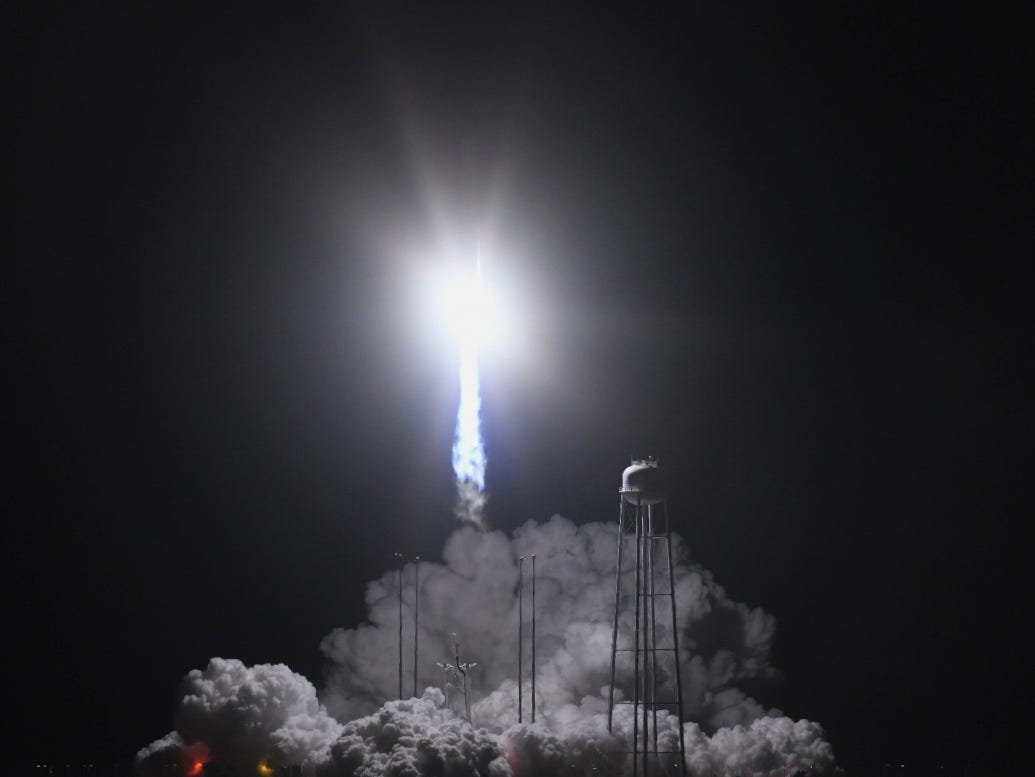 A NG-10 Antares rocket launches successfully from NASA Wallops Flight Facility in Virginia with Cygnus from Northrop Grumman on Saturday, Nov. 17, 2018. The rocket was headed to the International Space Station.