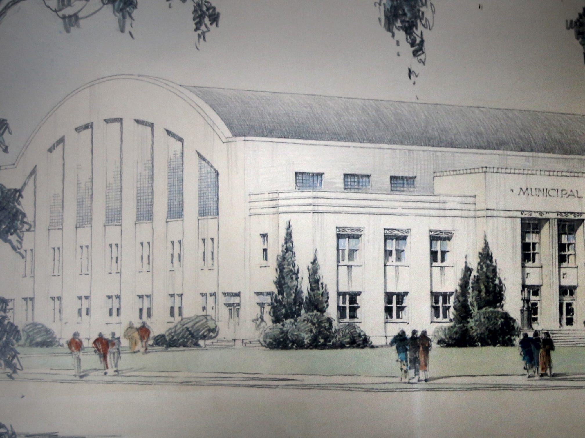 An artist's rendering of the Sheboygan Armory that has hung in the building for many years as seen Wednesday January 15, 2014 in Sheboygan, Wis.