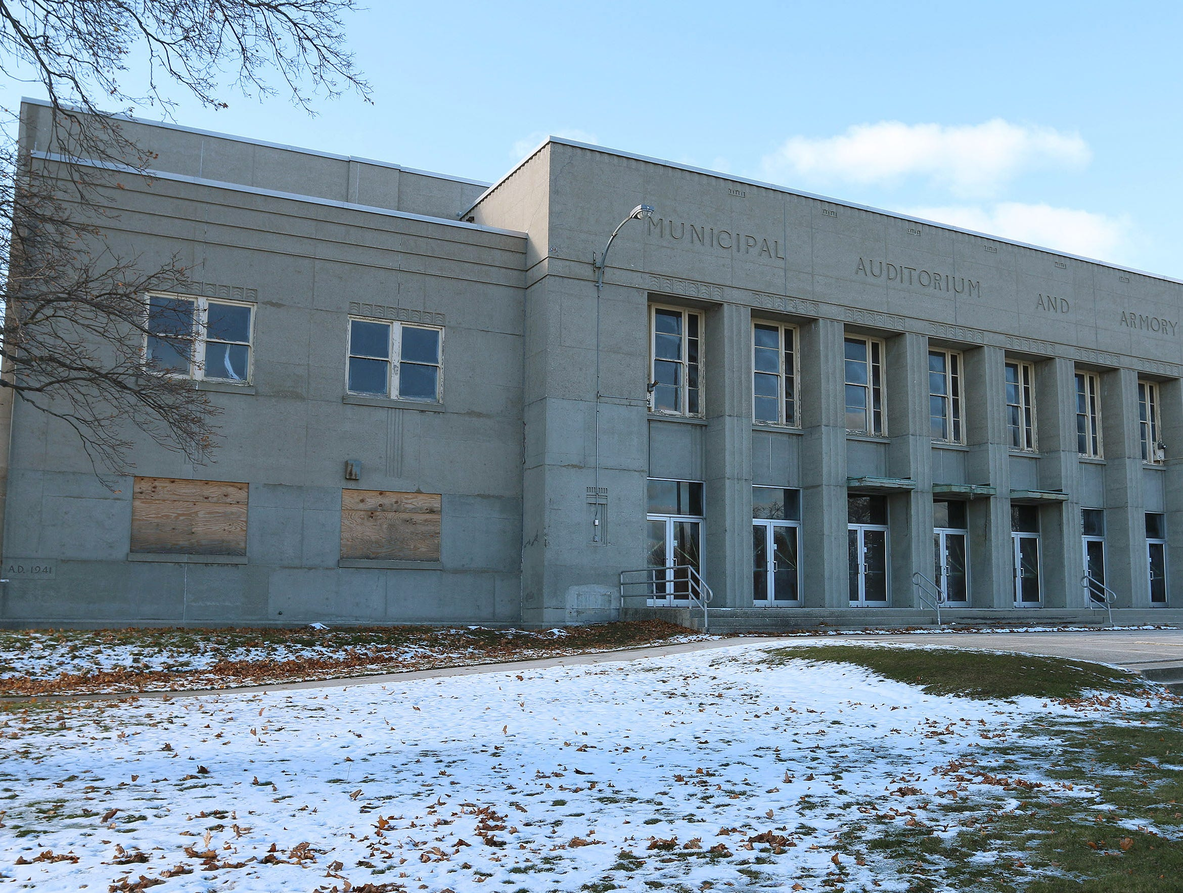 The Sheboygan Armory, with some windows boarded up as it appears, Tuesday, November 13, 2018, in Sheboygan, Wis.