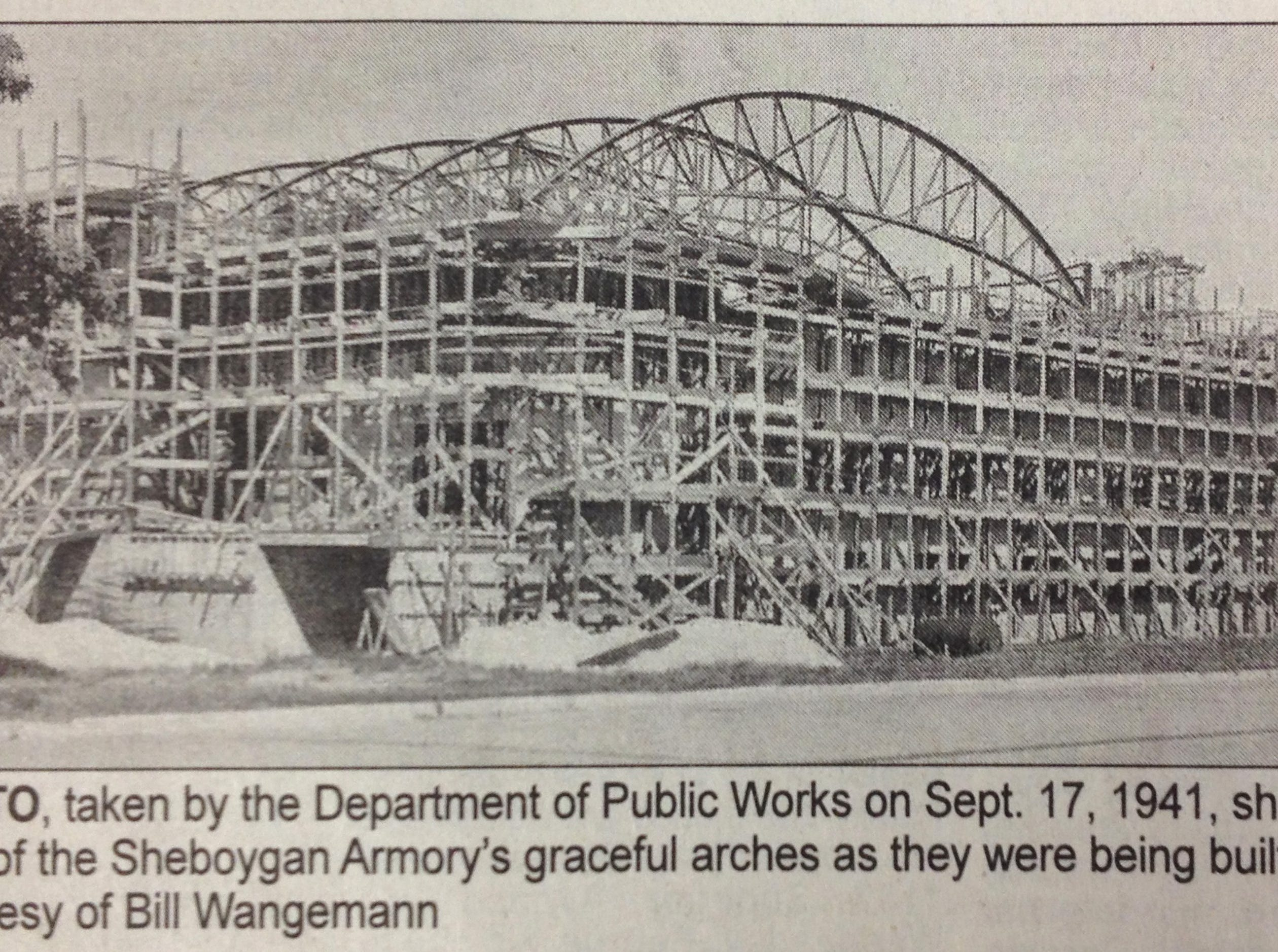 A clipping from the Sheboygan Press of a photo taken by the department of public works when the Sheboygan Armory was built in the 1940s.