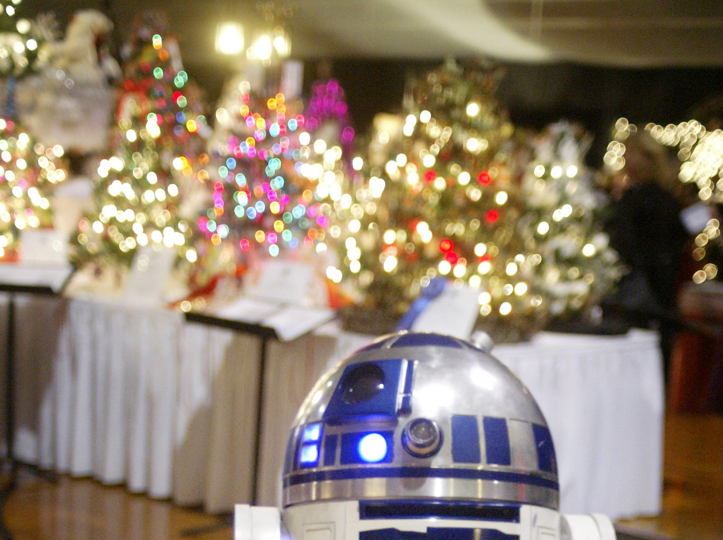 R2D2 made an appearance at the Festival of Trees charity event, Thursday, November 30, 2006, at the Sheboygan Armory, in Sheboygan, Wis.
