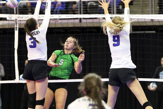 McKenna Kranz of McCook Central/Montrose gets a shot past the defense of Abby Glanzer (3) and Tess Harmelink of Sioux Falls Christian during the Class A semifinals on Friday in Sioux Falls.