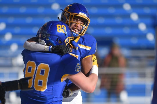 Blake Kunz (88) and Cade Johnson have stepped up to keep the SDSU offense remain explosive this season.