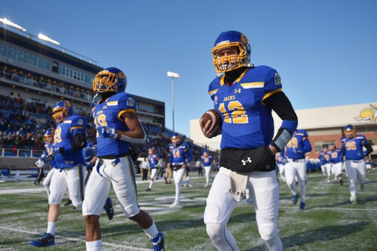 SDSU takes the field for the game against USD Saturday, Nov. 17, at Dana Dykhouse Stadium stadium in Brookings.