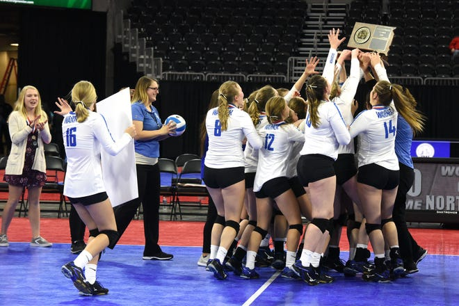 Warner's team celebrates after winning the class B state championship, Saturday, Nov. 17, 2018, at the Denny Sanford Premier Center in Sioux Falls, S.D.