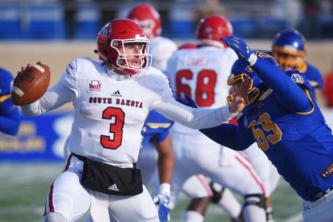 USD's Austin Simmons during the game against SDSU  Saturday, Nov. 17, at Dana Dykhouse Stadium stadium in Brookings.