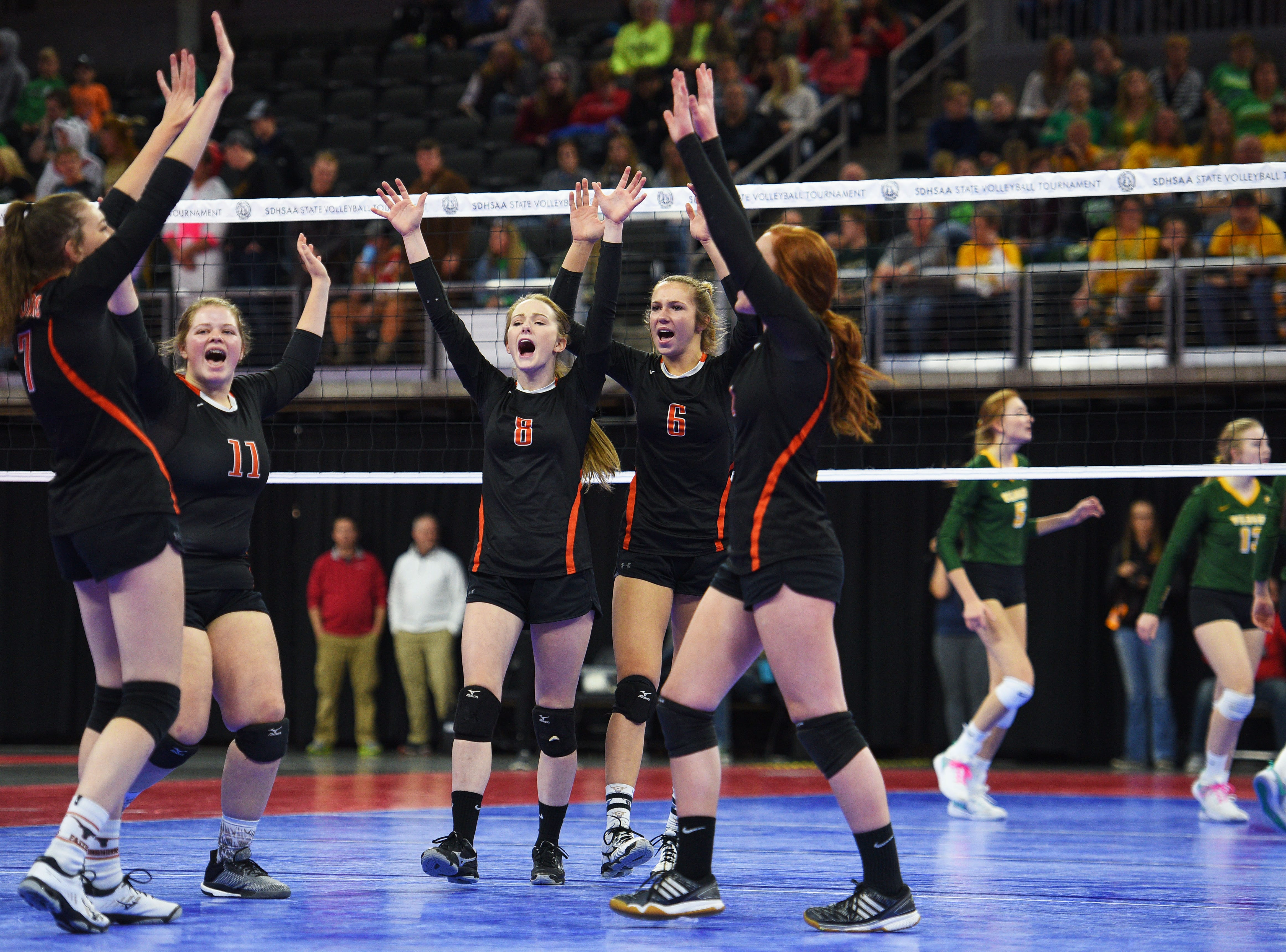 Faith celebrates in the game against Northwester during the semifinals Friday, Nov. 16, at the Denny Sanford Premier Center in Sioux Falls.