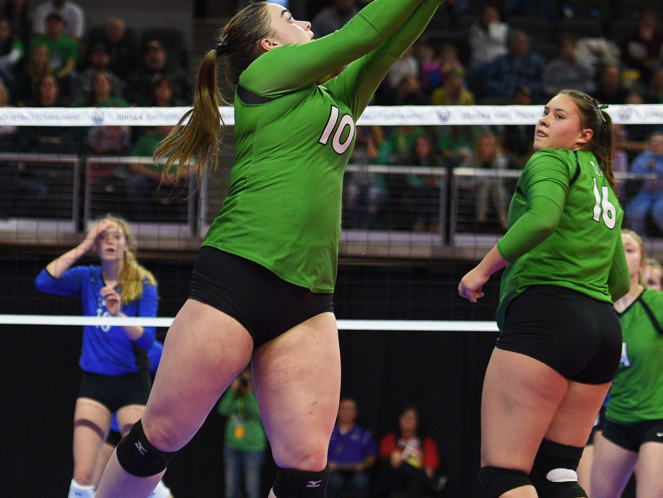 Miller's Madison Wetz during the game against Elk Point-Jefferson during the semifinals Friday, Nov. 16, at the Denny Sanford Premier Center in Sioux Falls.