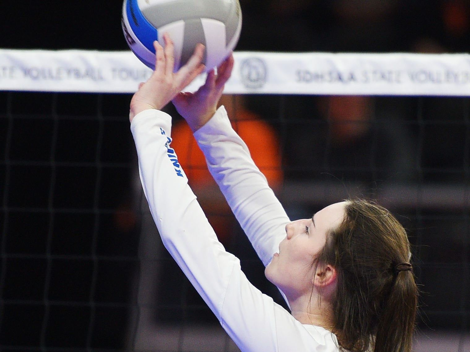 O'Gorman's Raegen Reilly during the semifinals Friday, Nov. 16, at the Denny Sanford Premier Center in Sioux Falls.