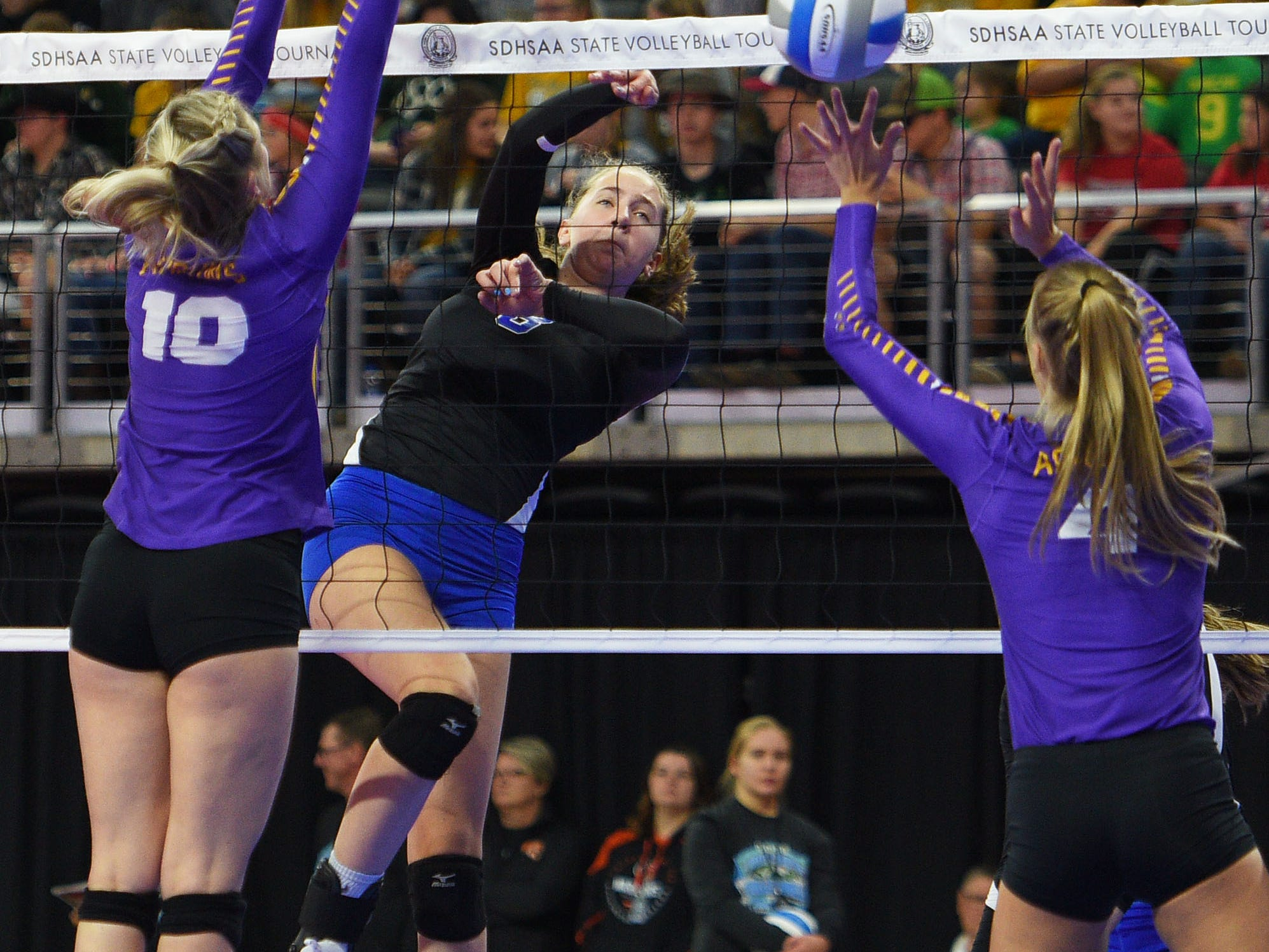 RC Stevens' Phebie Rossi goes against Watertown during the semifinals Friday, Nov. 16, at the Denny Sanford Premier Center in Sioux Falls.