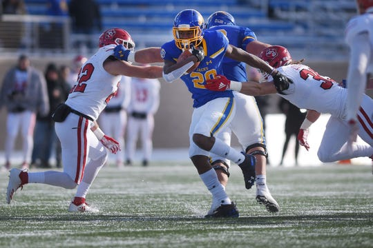 SDSU's Pierre Strong, Jr. scores a touchdown against USD  during the game Saturday, Nov. 17, at Dana Dykhouse Stadium stadium in Brookings.