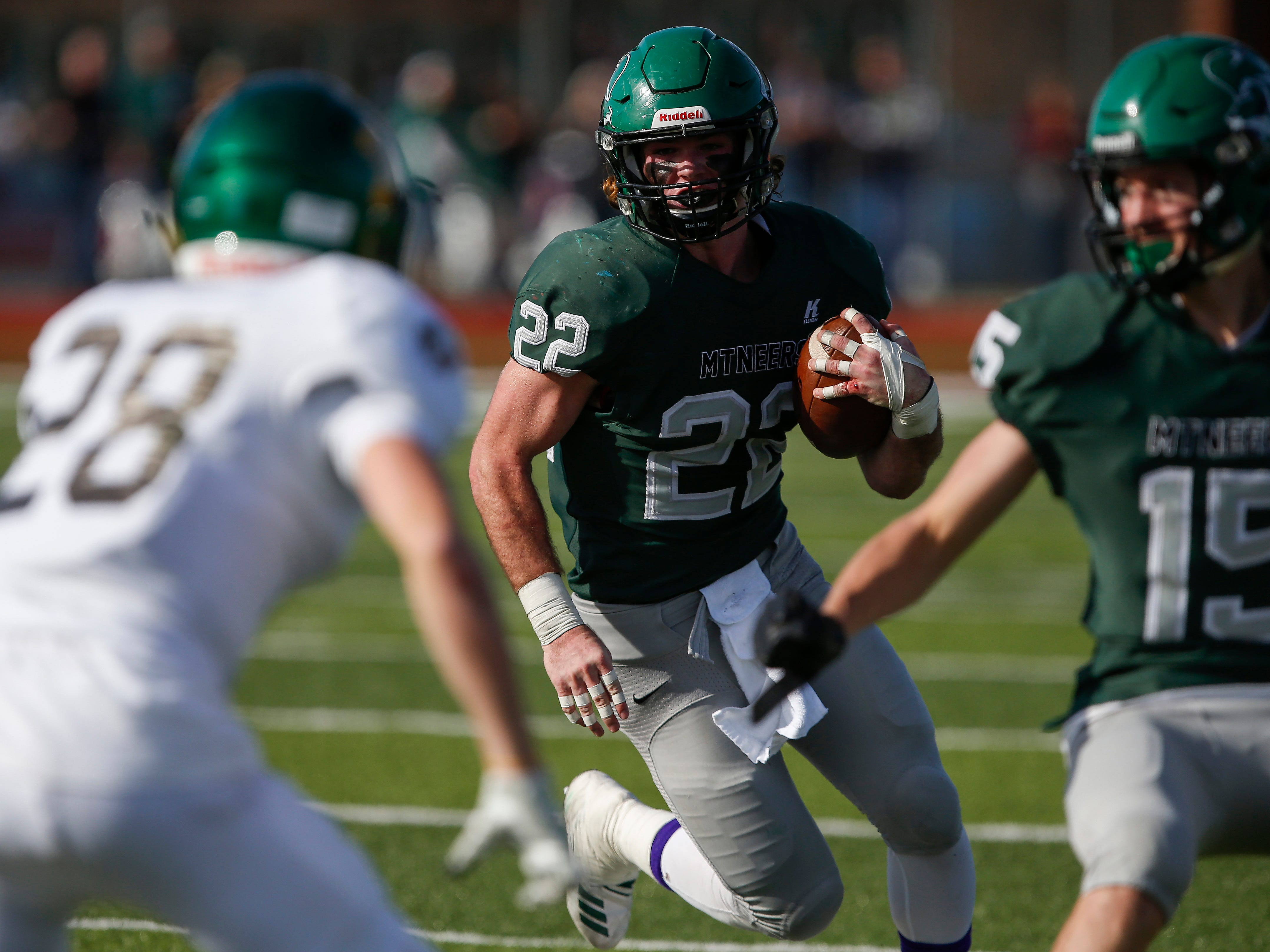 Will Boswell, of Mount Vernon, runs the ball in the Mountaineers 26-18 win in the Class 3 Quarterfinal game against Springfield Catholic at Mount Vernon High School on Saturday, Nov. 17, 2018.