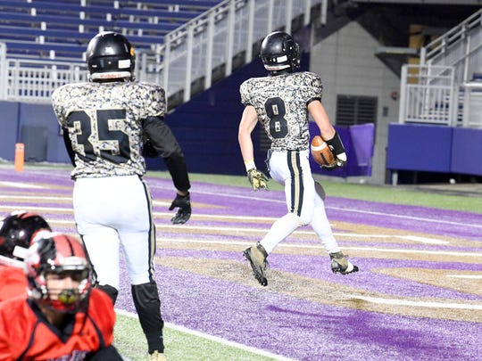 Buffalo Gap's Carter Rivenburg makes it into the end zone for a touchdown during a Region 2B semifinal game played at James Madison University on Friday, Nov. 16, 2018.