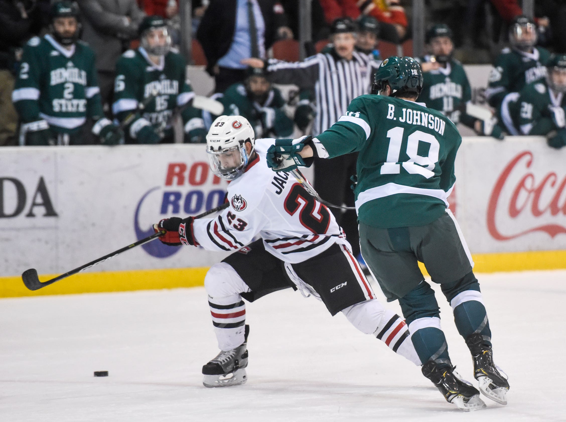 St. Cloud State's Robby Jackson skates with the puck during the first period of the Friday, Nov. 16, game against Bemidji State at the Herb Brooks National Hockey Center in St. Cloud.