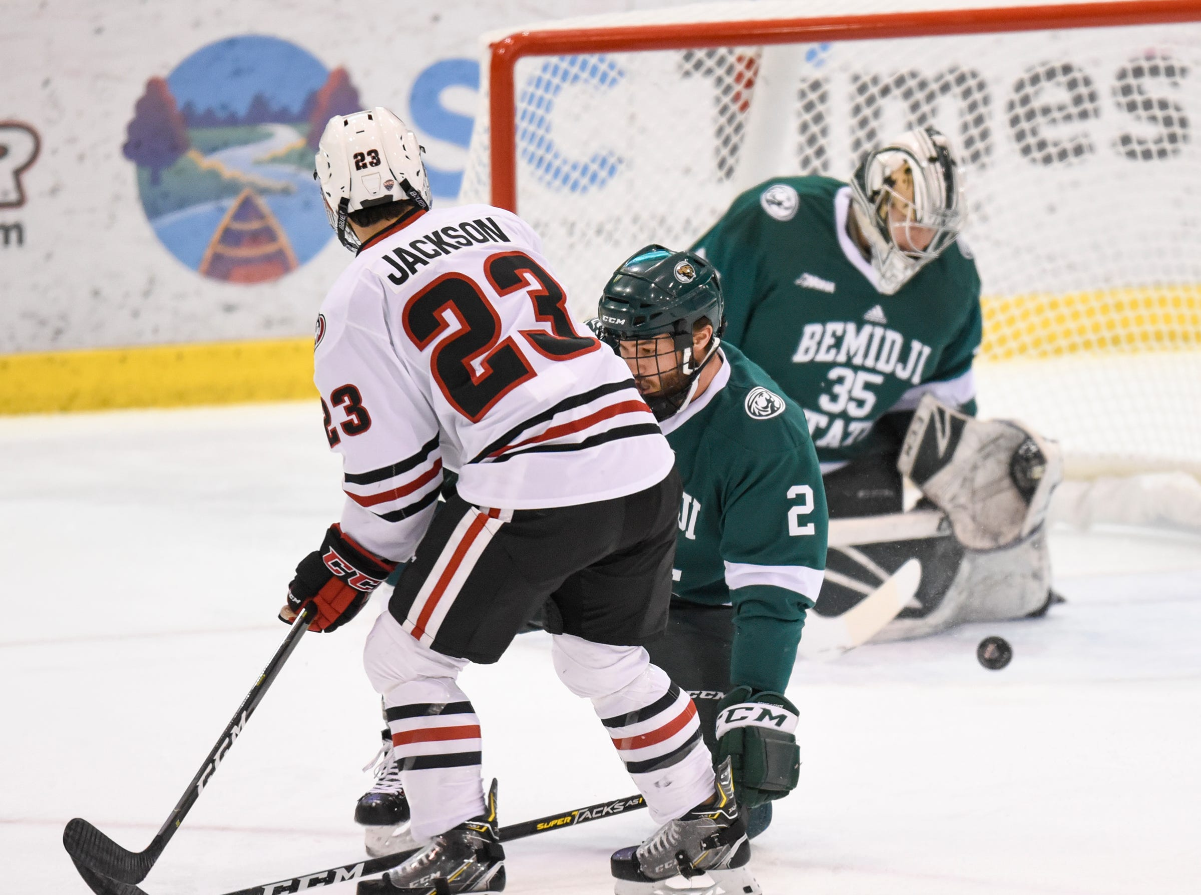 St. Cloud State's Robby Jackson takes a shot on goal during the first period of the Friday, Nov. 16, game against Bemidji State at the Herb Brooks National Hockey Center in St. Cloud.