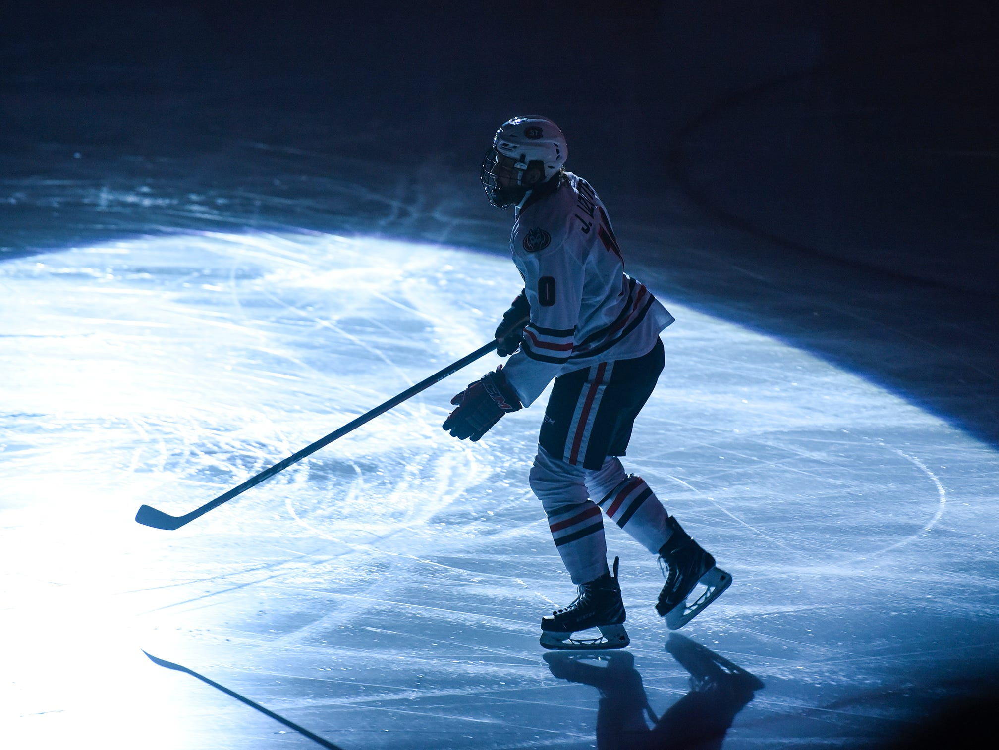 St. Cloud State's Jon Lizotte is introduced before the start of the Friday, Nov. 16, game against Bemidji State at the Herb Brooks National Hockey Center in St. Cloud.