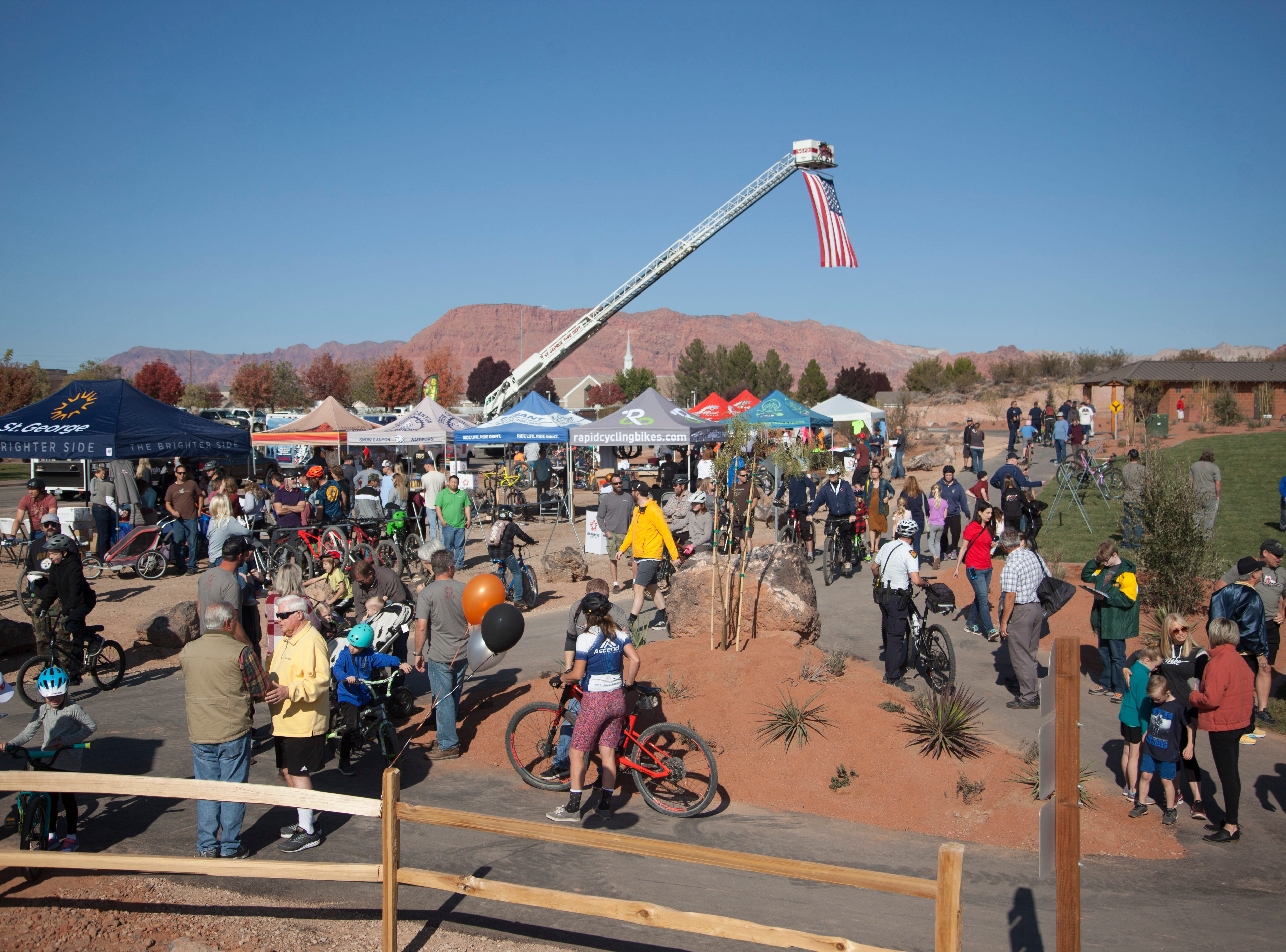 Community members gathers for the opening of Snake Hollow in St. George on Saturday, Nov. 17, 2018.