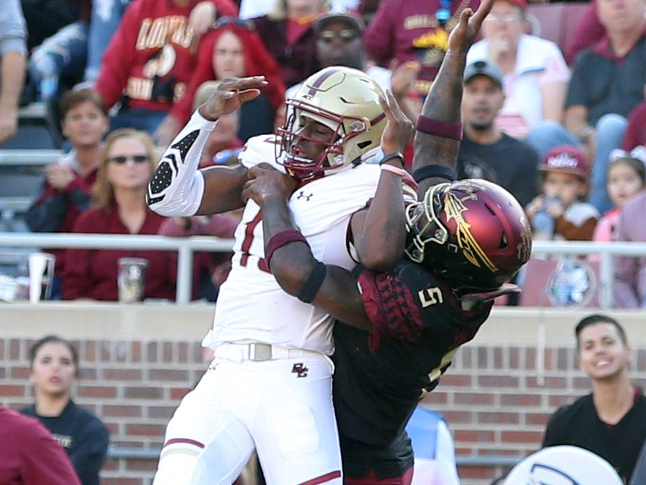 Florida State Seminoles linebacker Dontavious Jackson (5) tries to stop the pass as the Florida State Seminoles face off against the Boston College Eagles at Doak S. Campbell Stadium, Saturday, Nov. 17, 2018.