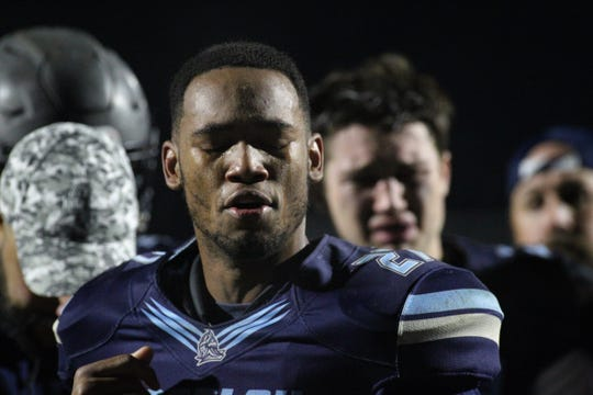 Maclay junior Robert Parker-Crawford gets choked up talking about what a 10-1 season meant to him. Maclay fell 47-21 to University Christian during a Region 1-2A semifinal on Friday, Nov. 16, 2018.