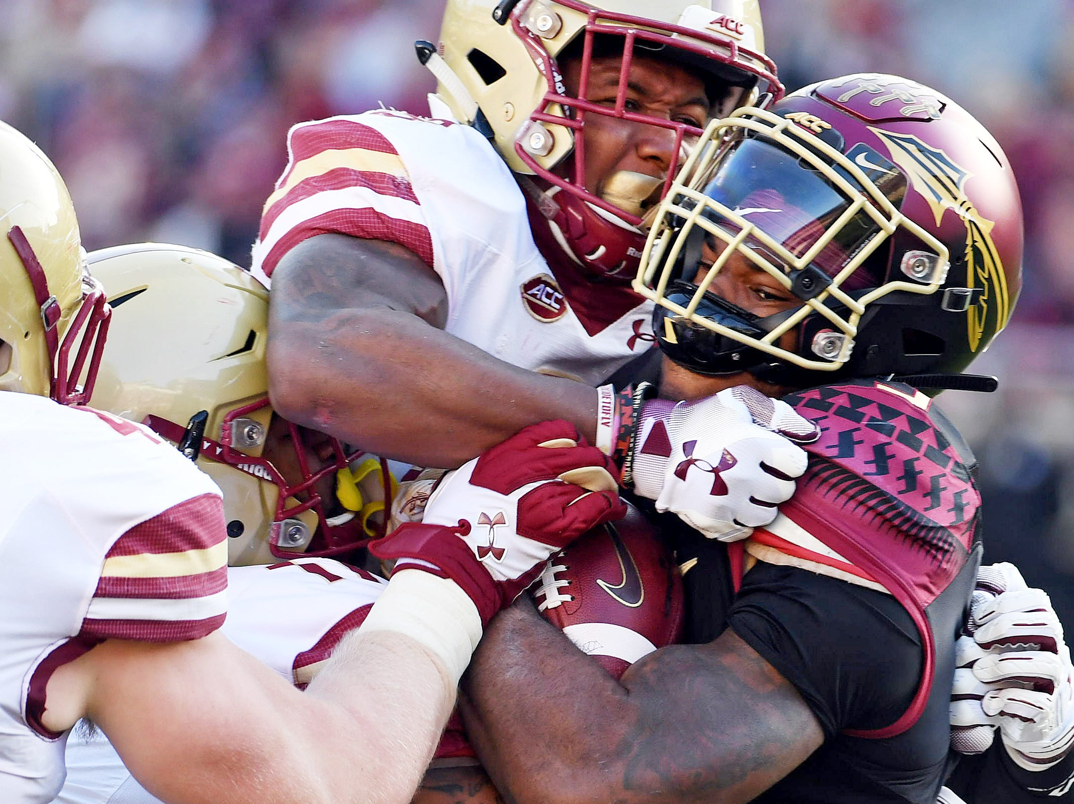 Nov 17, 2018; Tallahassee, FL, USA; Florida State Seminoles running back Cam Akers (3) is tackled by Boston College Eagles defensive back Will Harris (8) during the first half at Doak Campbell Stadium. Mandatory Credit: Melina Myers-USA TODAY Sports