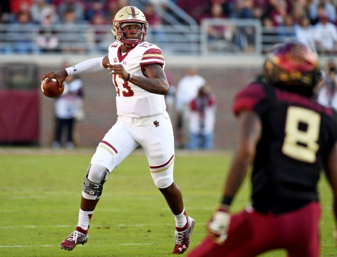 Nov 17, 2018; Tallahassee, FL, USA; Boston College Eagles quarterback Anthony Brown (13) looks to pass during the first half against the Florida State Seminoles at Doak Campbell Stadium. Mandatory Credit: Melina Myers-USA TODAY Sports